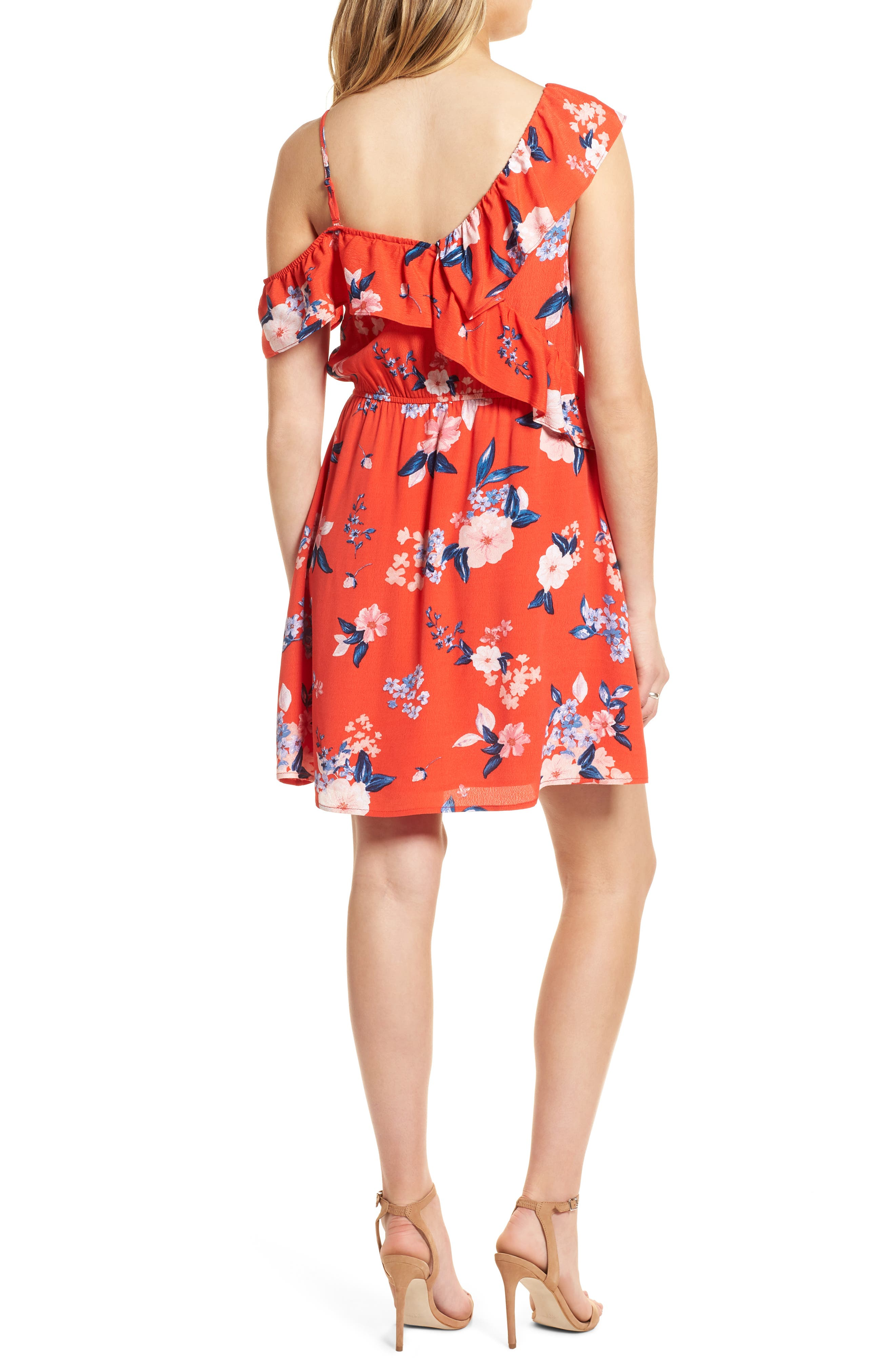 Cordetta Floral Asymmetrical Ruffle Dress,                             Alternate thumbnail 2, color,                             Poppy Red