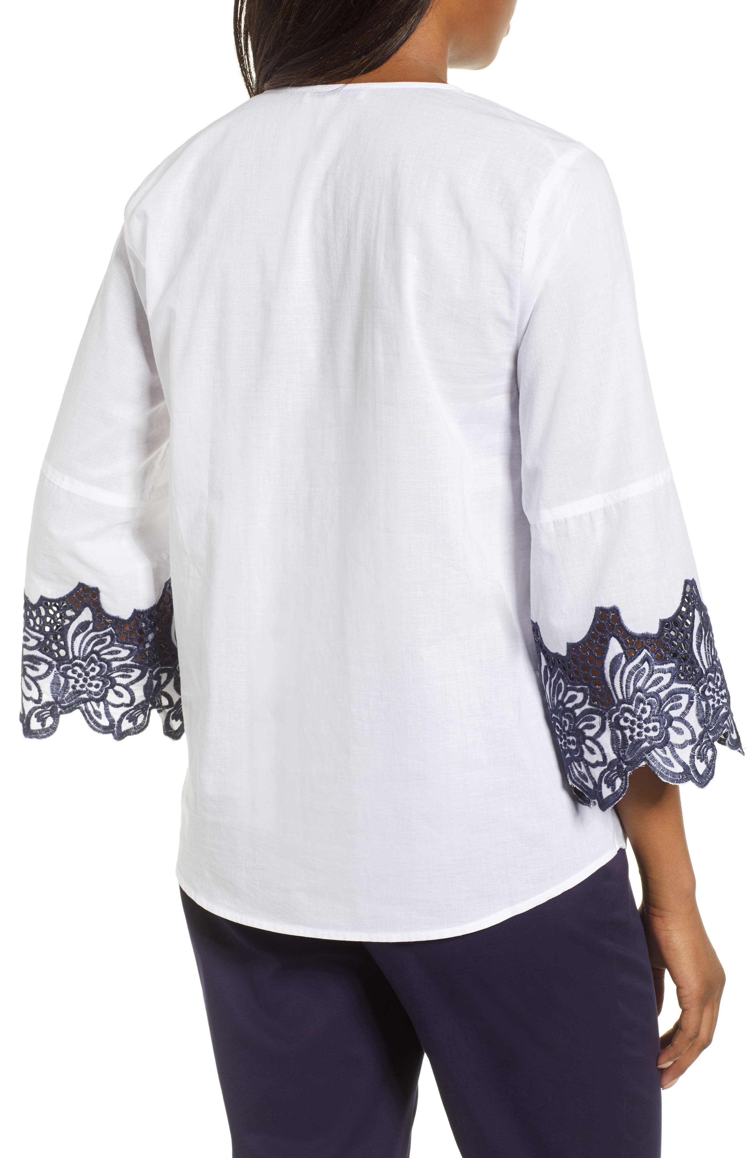 Bell Sleeve Embroidered Trim Blouse,                             Alternate thumbnail 2, color,                             Ultra White