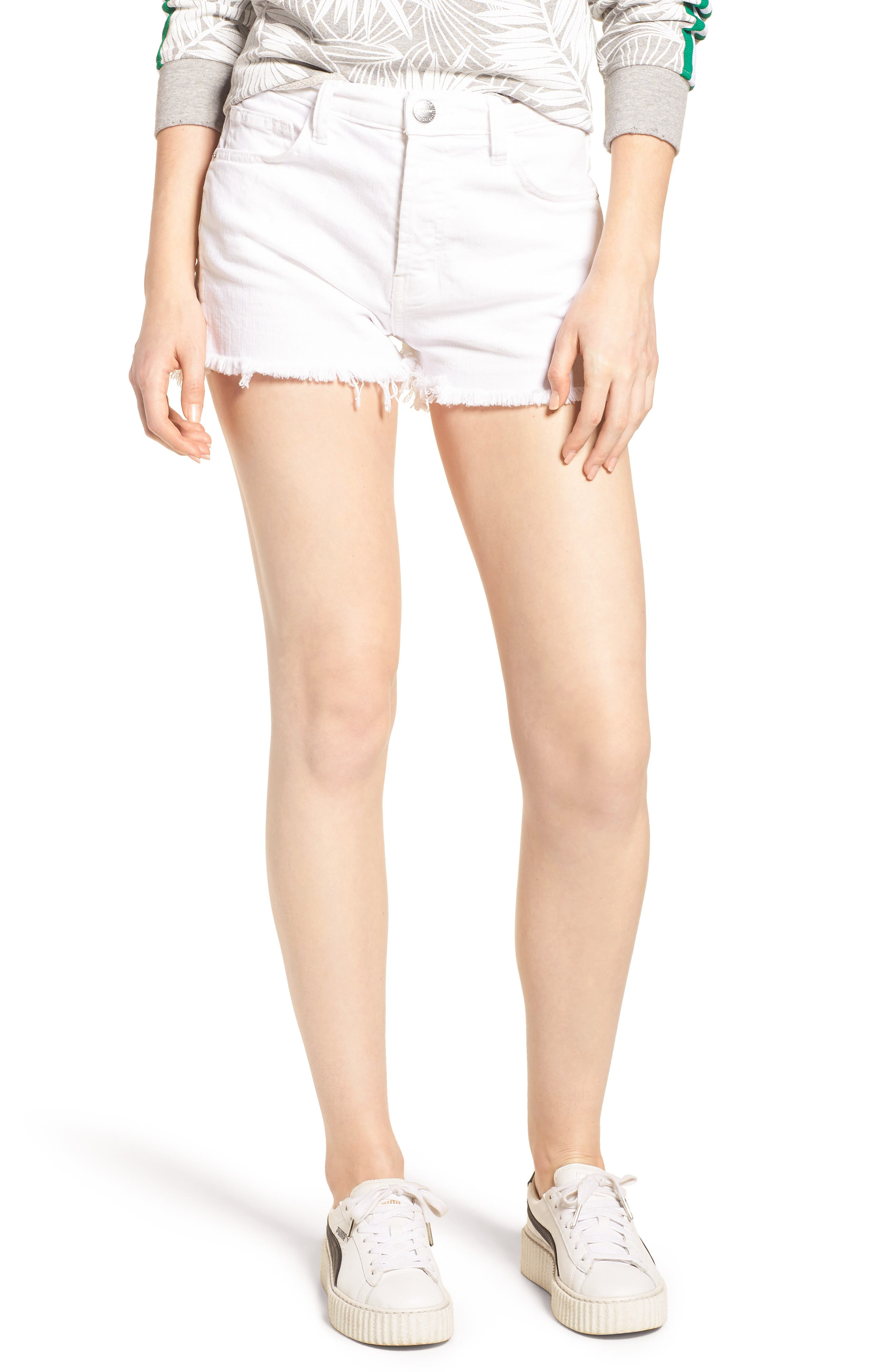 The Ultra High Waist Cutoff Denim Shorts,                             Main thumbnail 1, color,                             Sugar W/ Mishap Hem