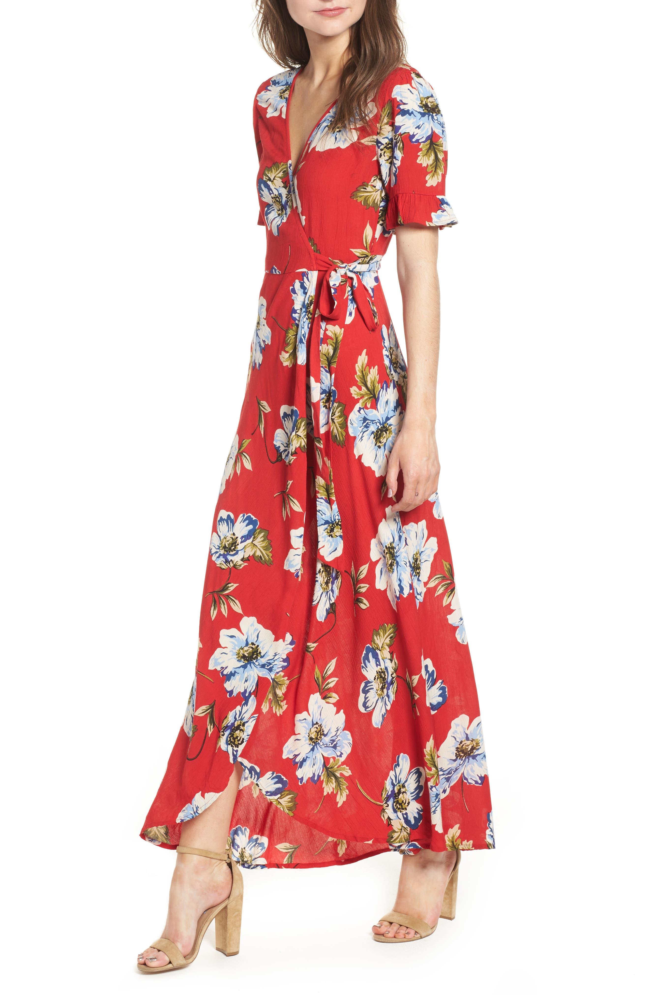Blue Moon Floral Print Wrap Dress,                         Main,                         color, Red/ Sky