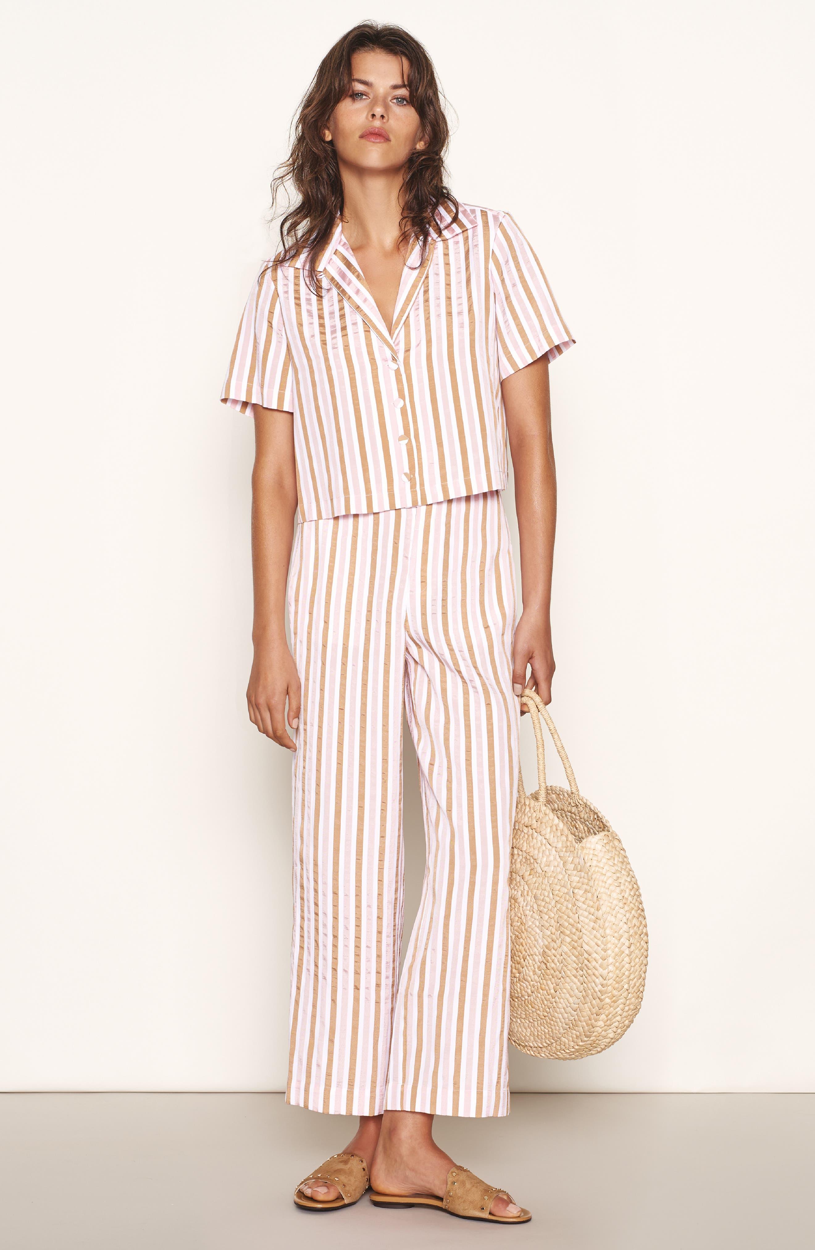 Stripe Mini Crop Shirt,                             Alternate thumbnail 2, color,                             Copper Multi