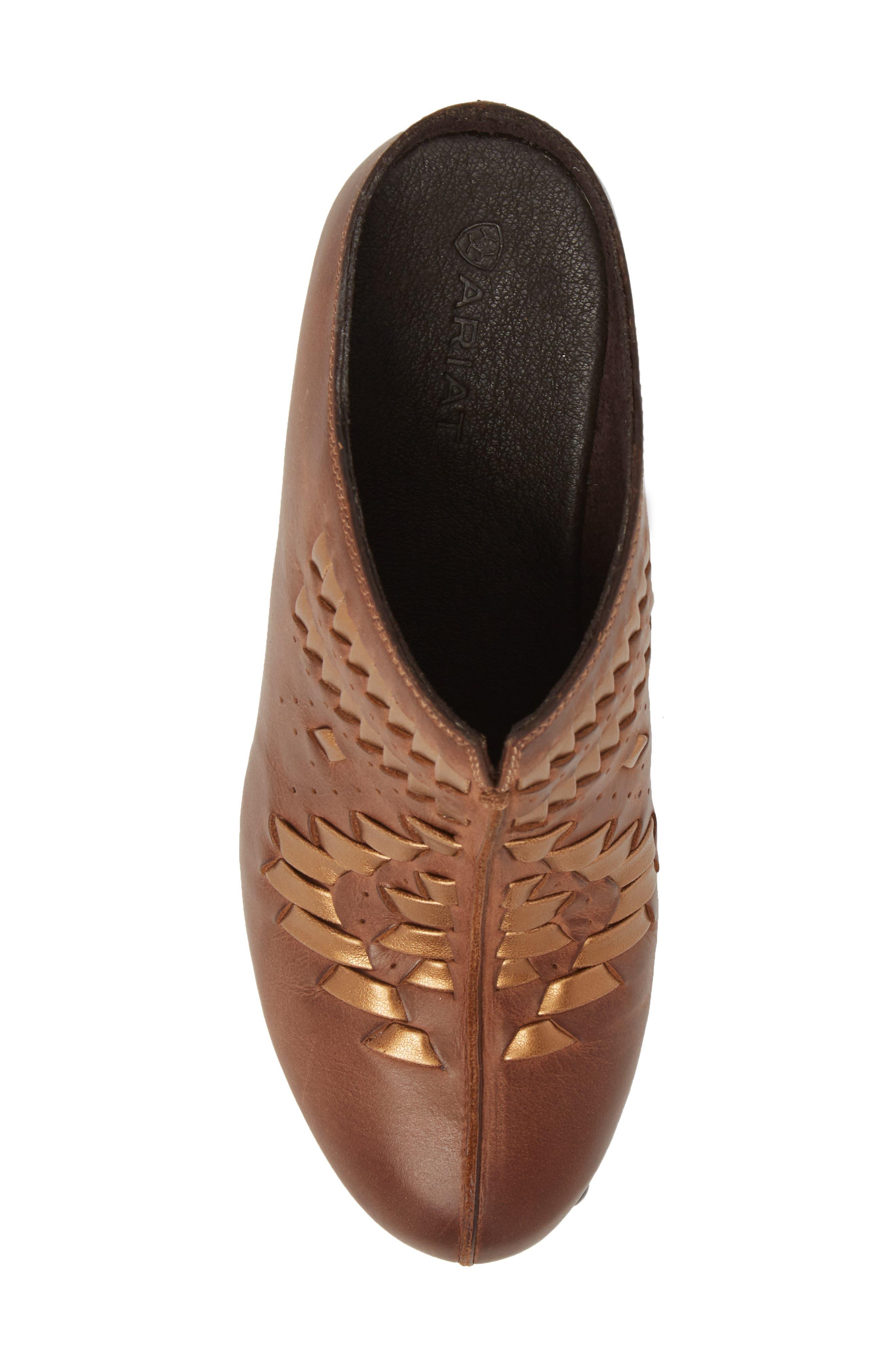 Bria Platform Clog,                             Alternate thumbnail 5, color,                             Bronzed Brown Leather
