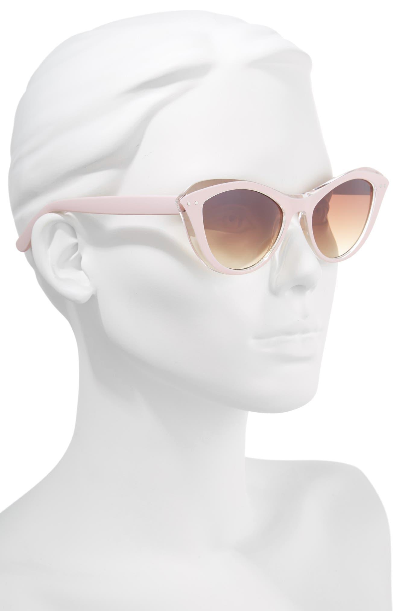 50mm Retro Cat Eye Sunglasses,                             Alternate thumbnail 2, color,                             Pink