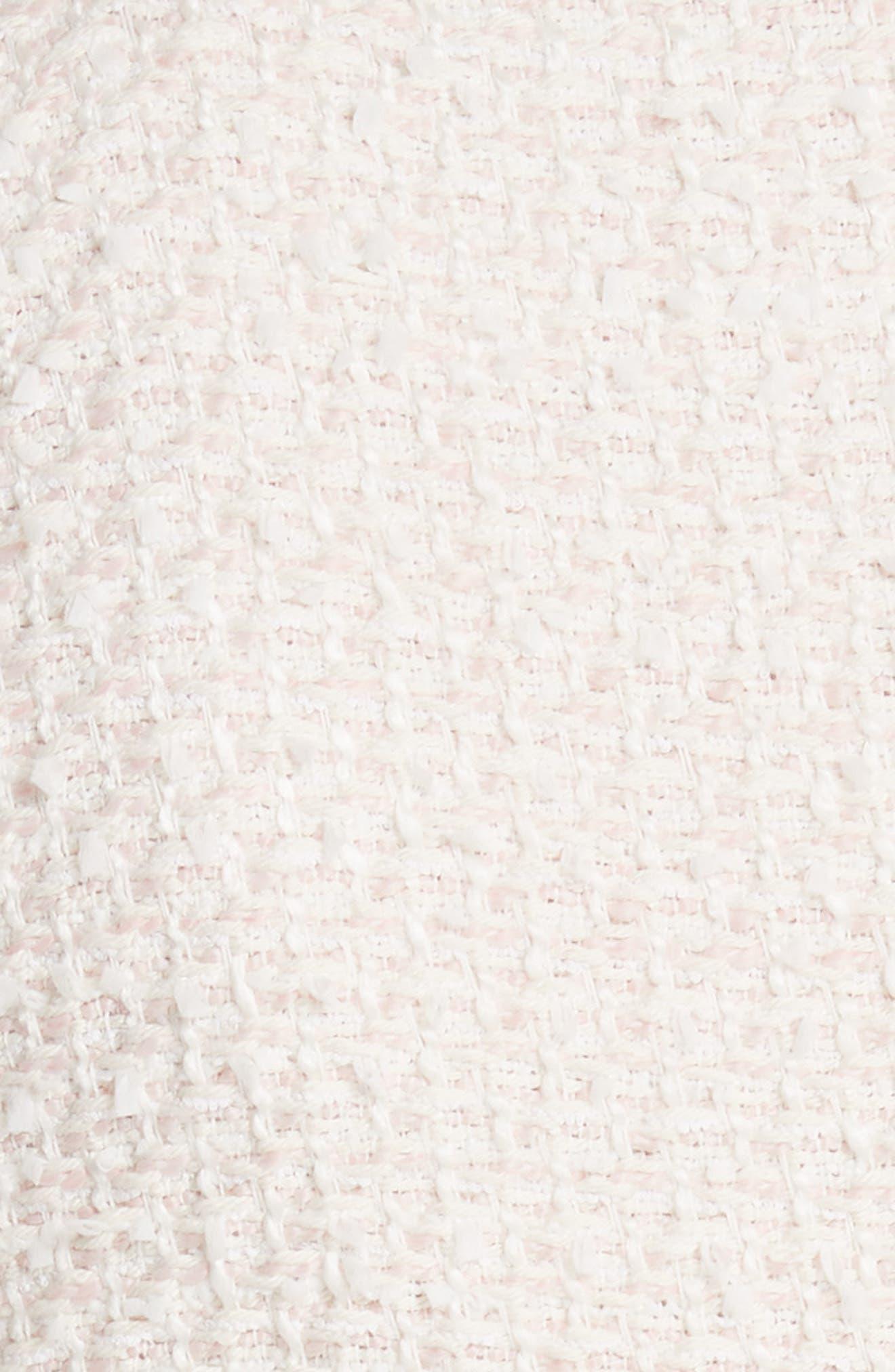 Drop Waist Tweed Dress,                             Alternate thumbnail 5, color,                             Powder Pink