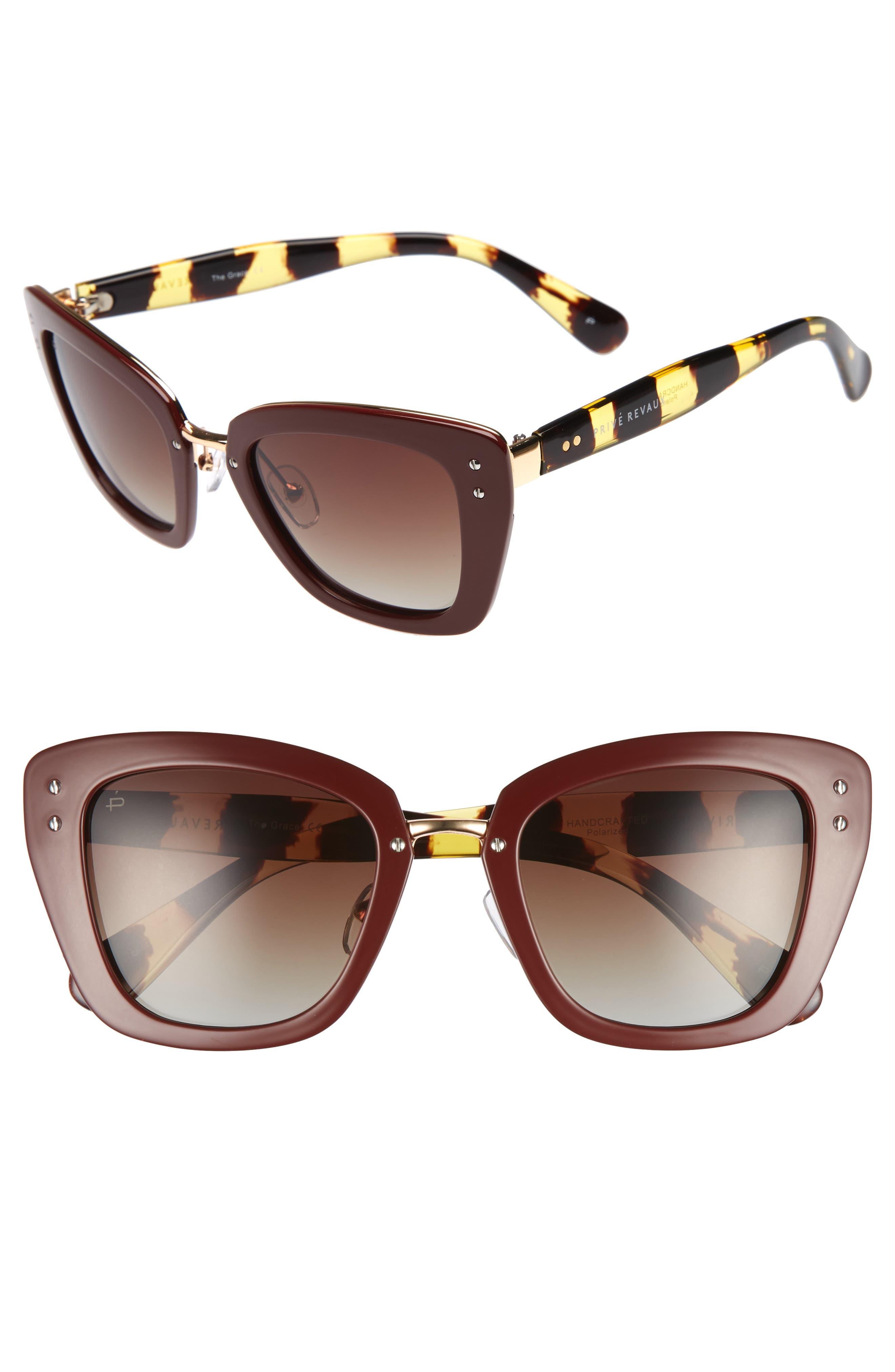 Privé Revaux The Grace 52mm Cat Eye Sunglasses,                             Main thumbnail 1, color,                             Red