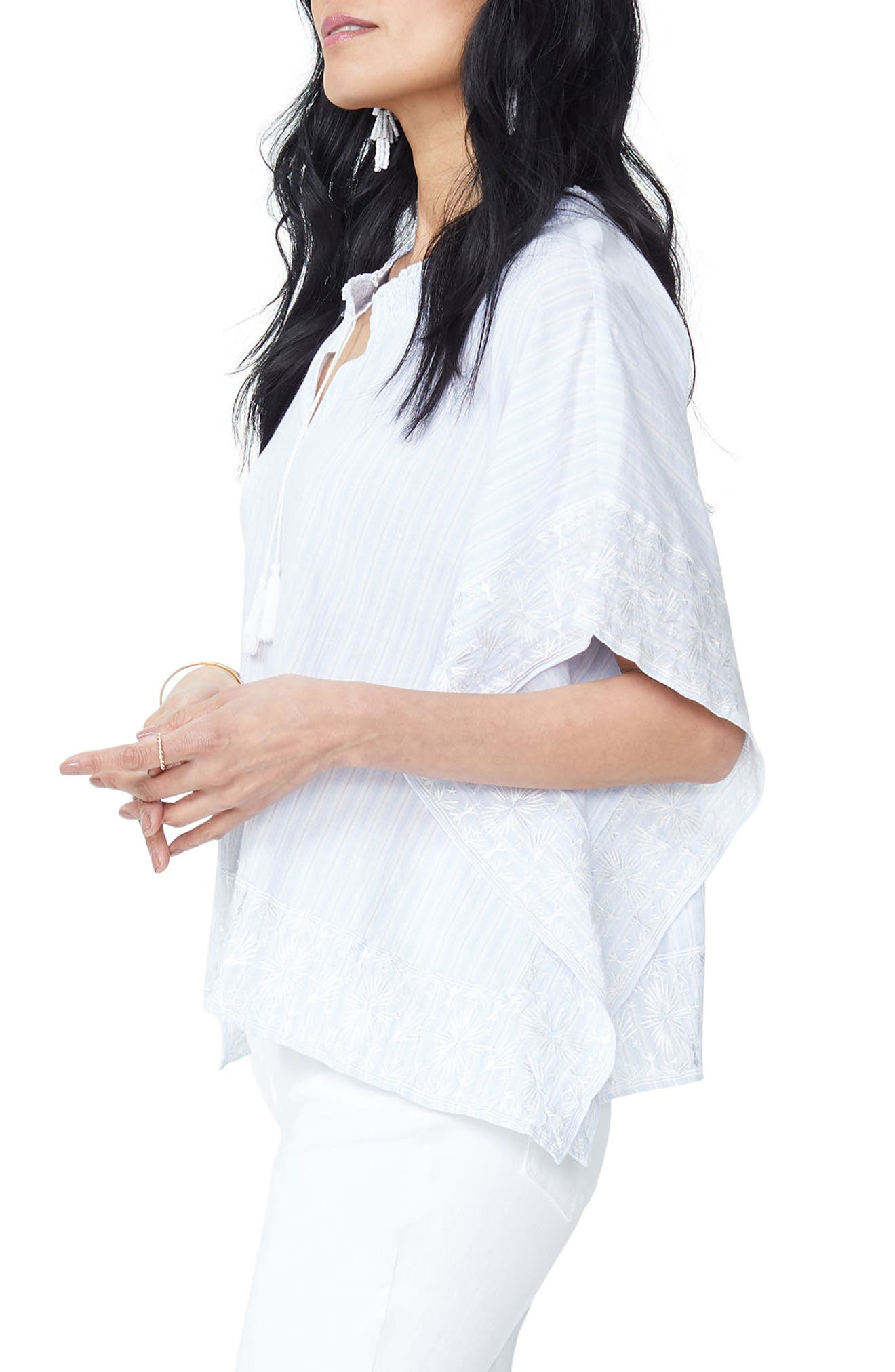 Cascade Embroidery Popover Top,                             Alternate thumbnail 3, color,                             Castaway Stripe Tranquility