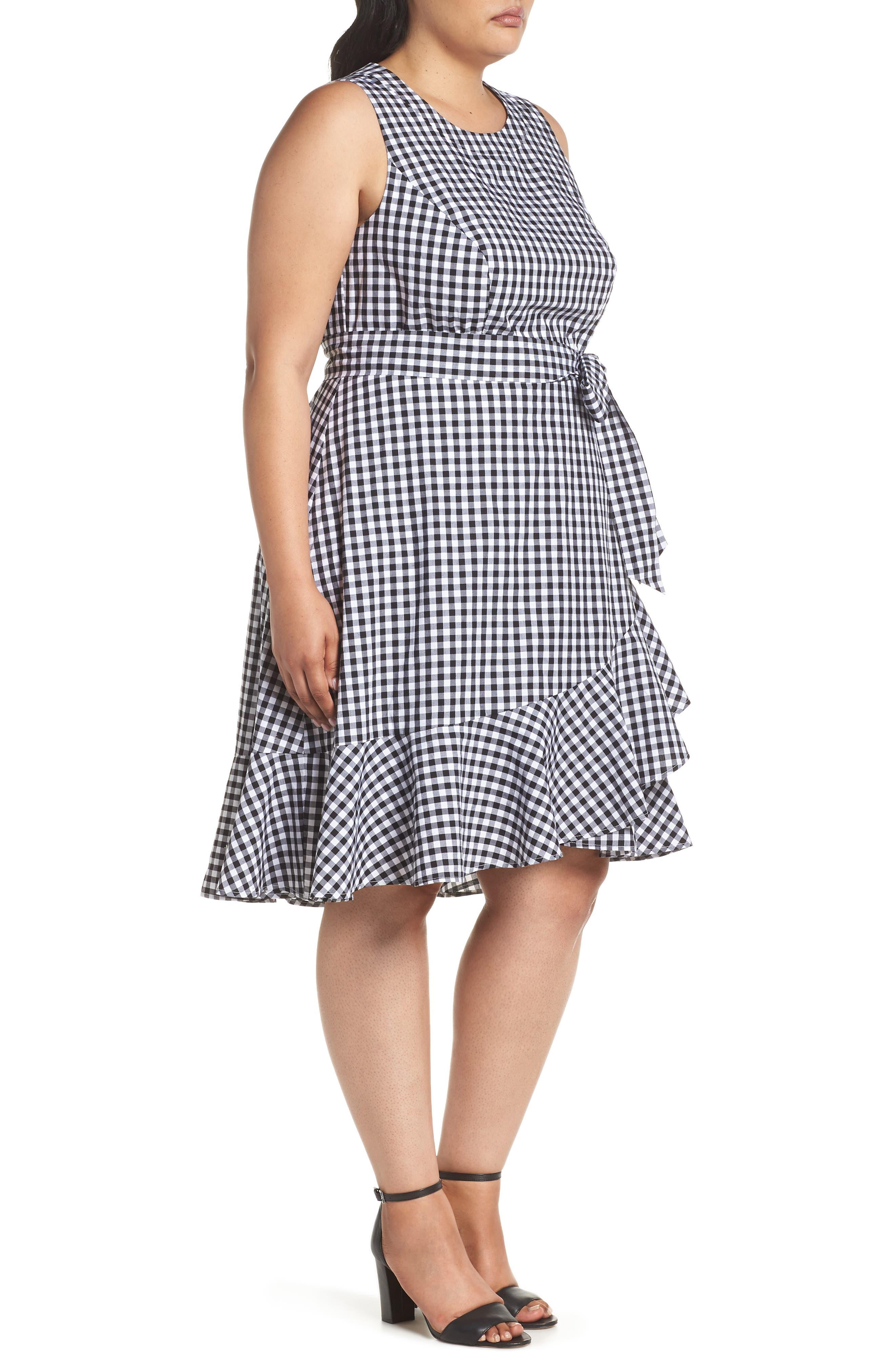 Belted Ruffle Hem Gingham Dress,                             Alternate thumbnail 3, color,                             Black/ White