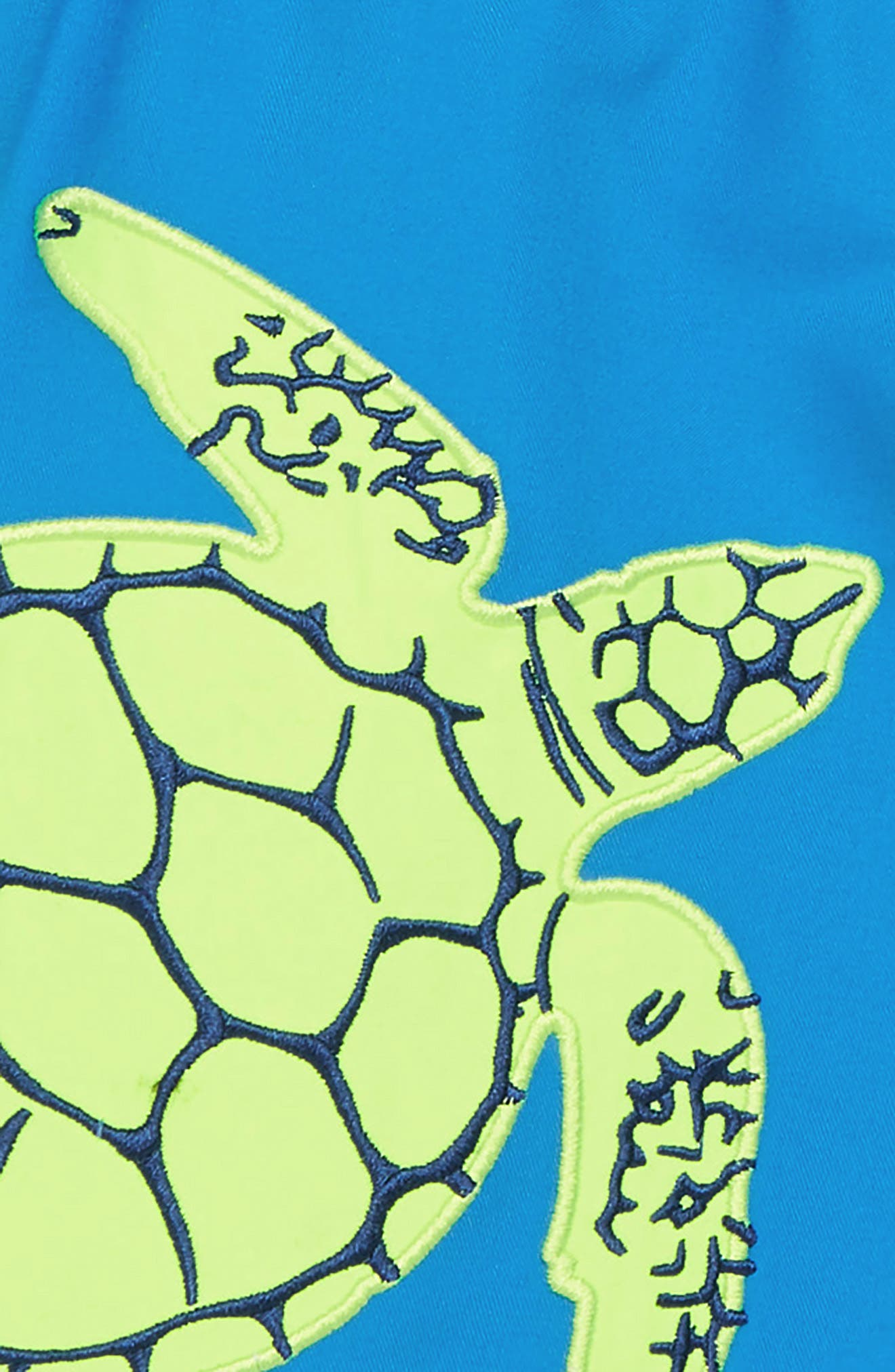 Embroidered Turtle Swim Trunks,                             Alternate thumbnail 2, color,                             Acid Yellow Turtle