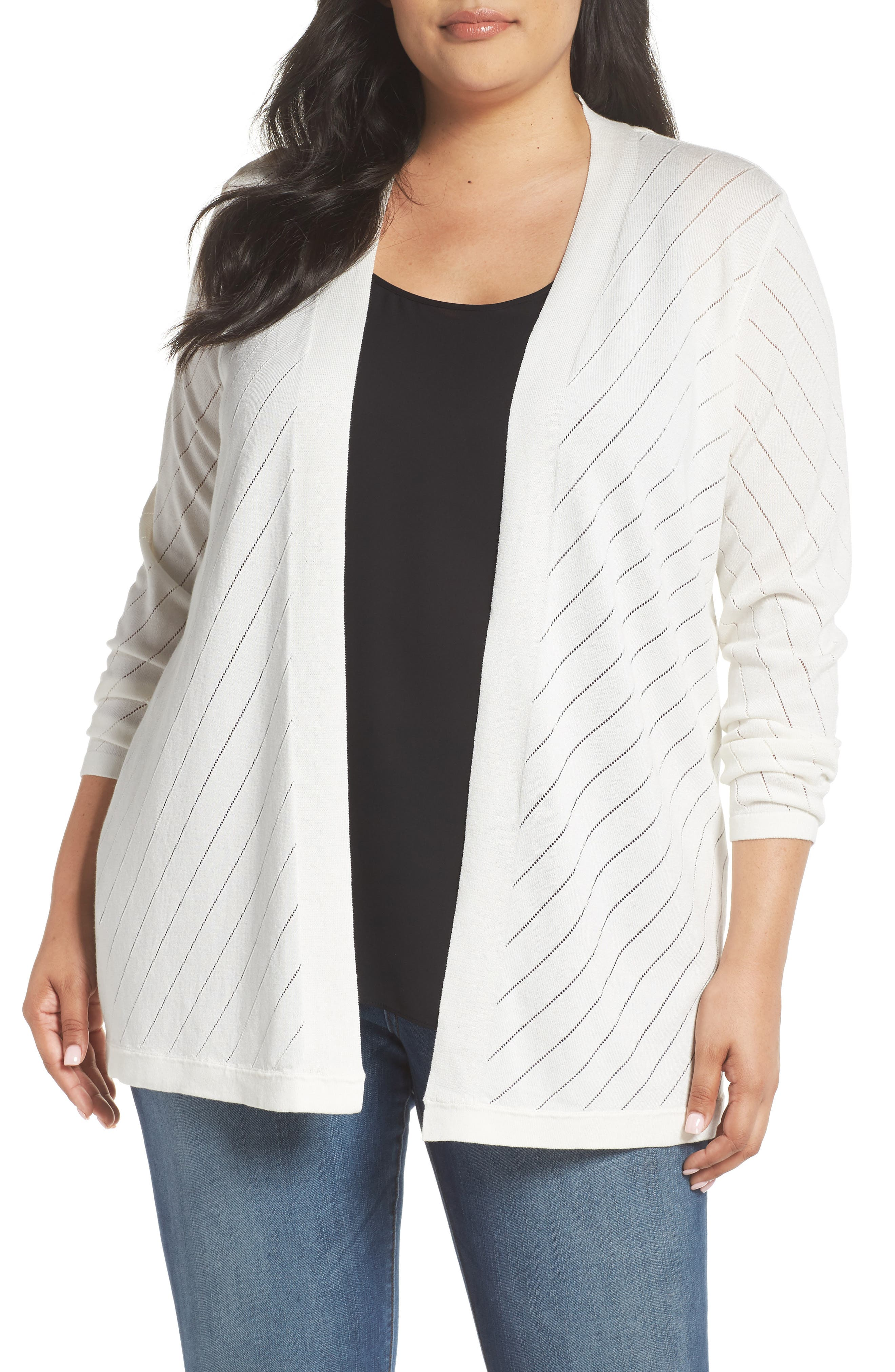 Vince Camuto Pointelle Open Front Cardigan (Plus Size)