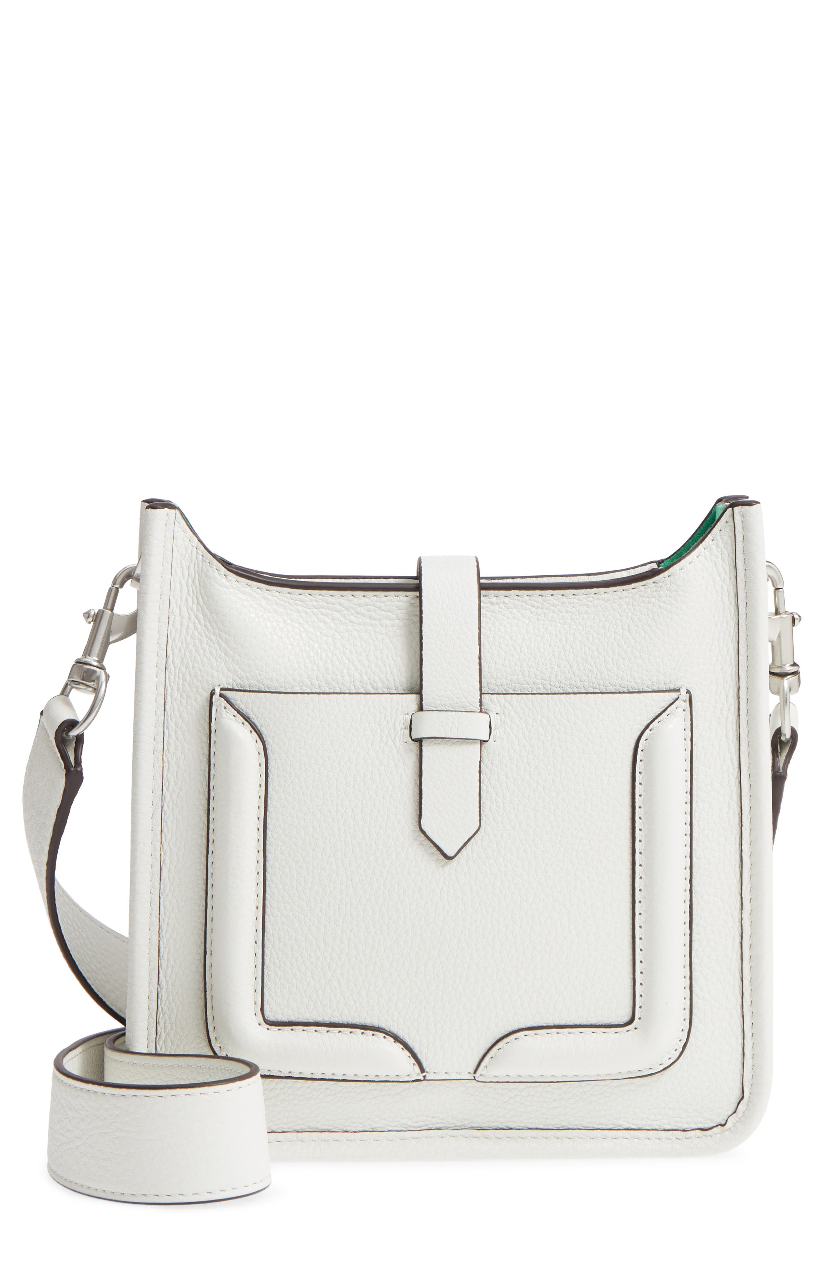 Mini Unlined Leather Feed Bag,                         Main,                         color, Bianco/ Green