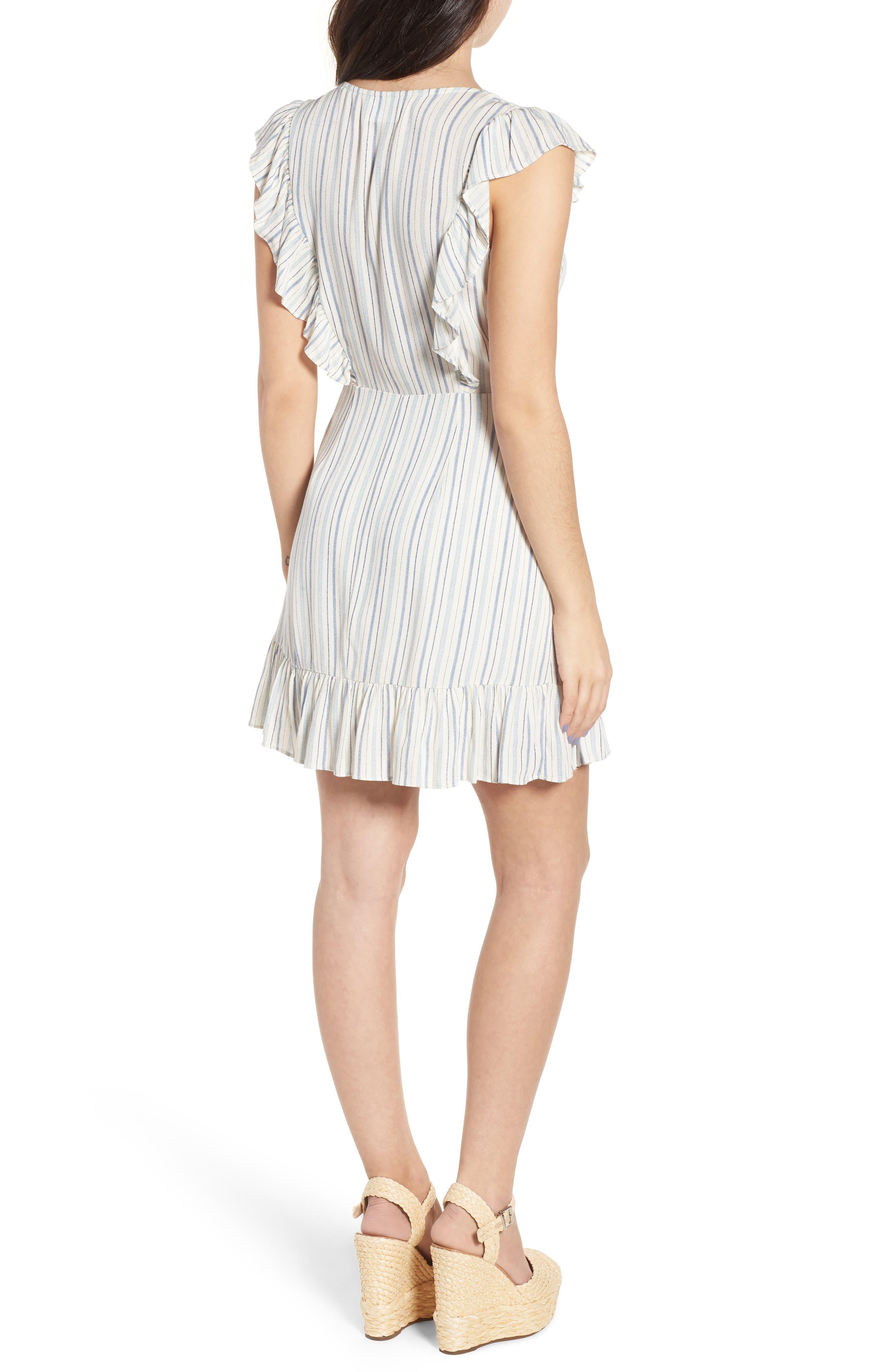 Kiara Stripe Minidress,                             Alternate thumbnail 3, color,                             Light Blue