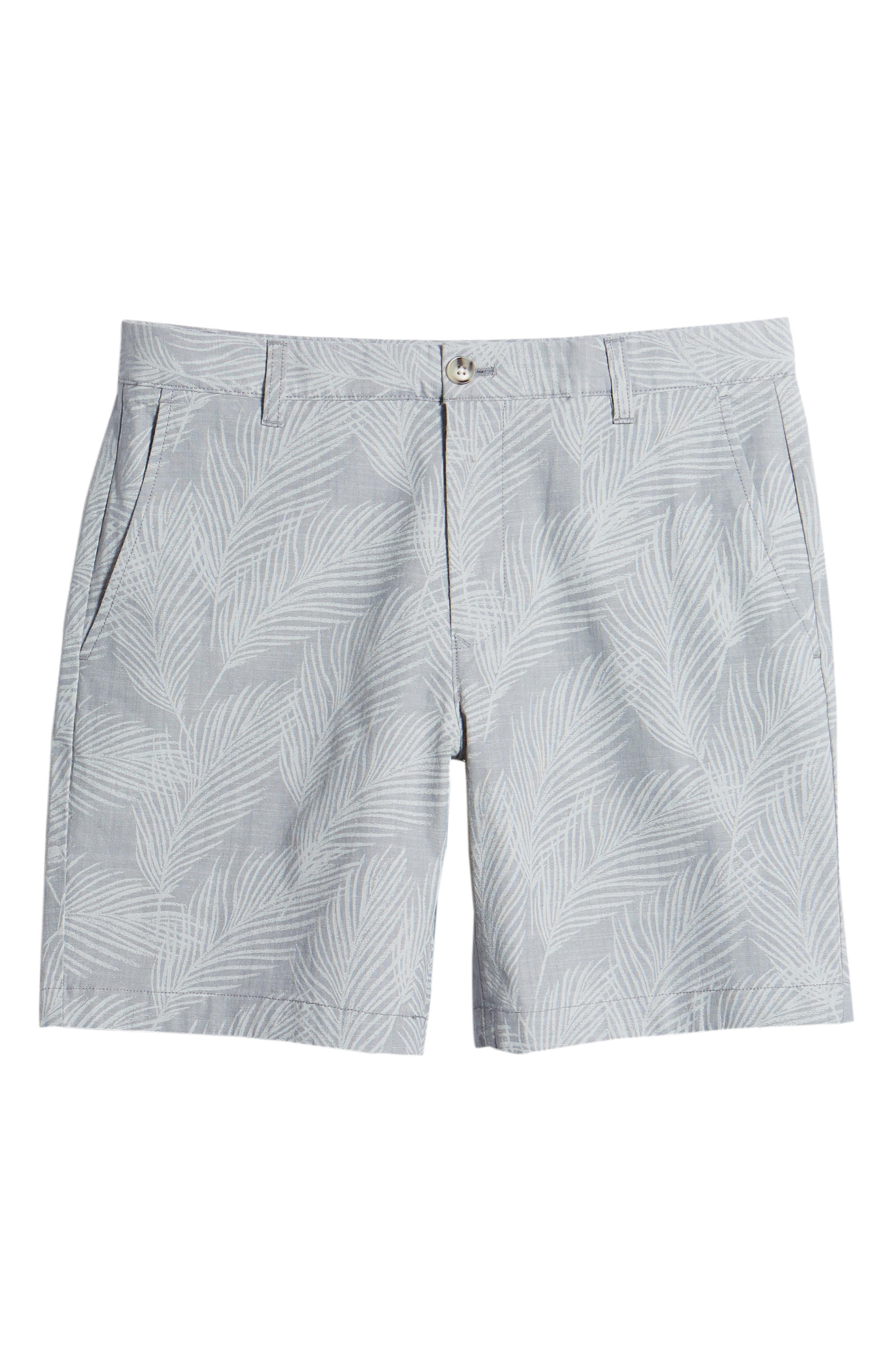 Print Stretch Chino Shorts,                             Alternate thumbnail 6, color,                             Breezy Palms Chambray