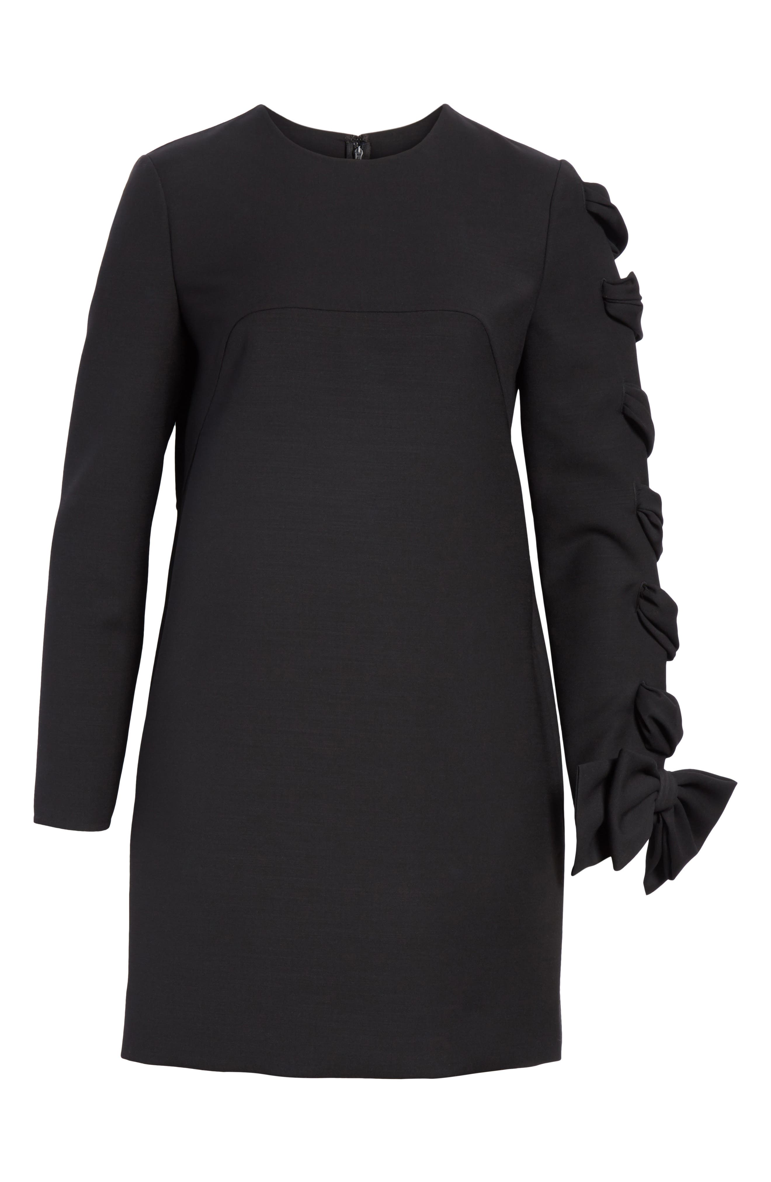 Very V Lace-Up Sleeve Dress,                             Alternate thumbnail 6, color,                             Black
