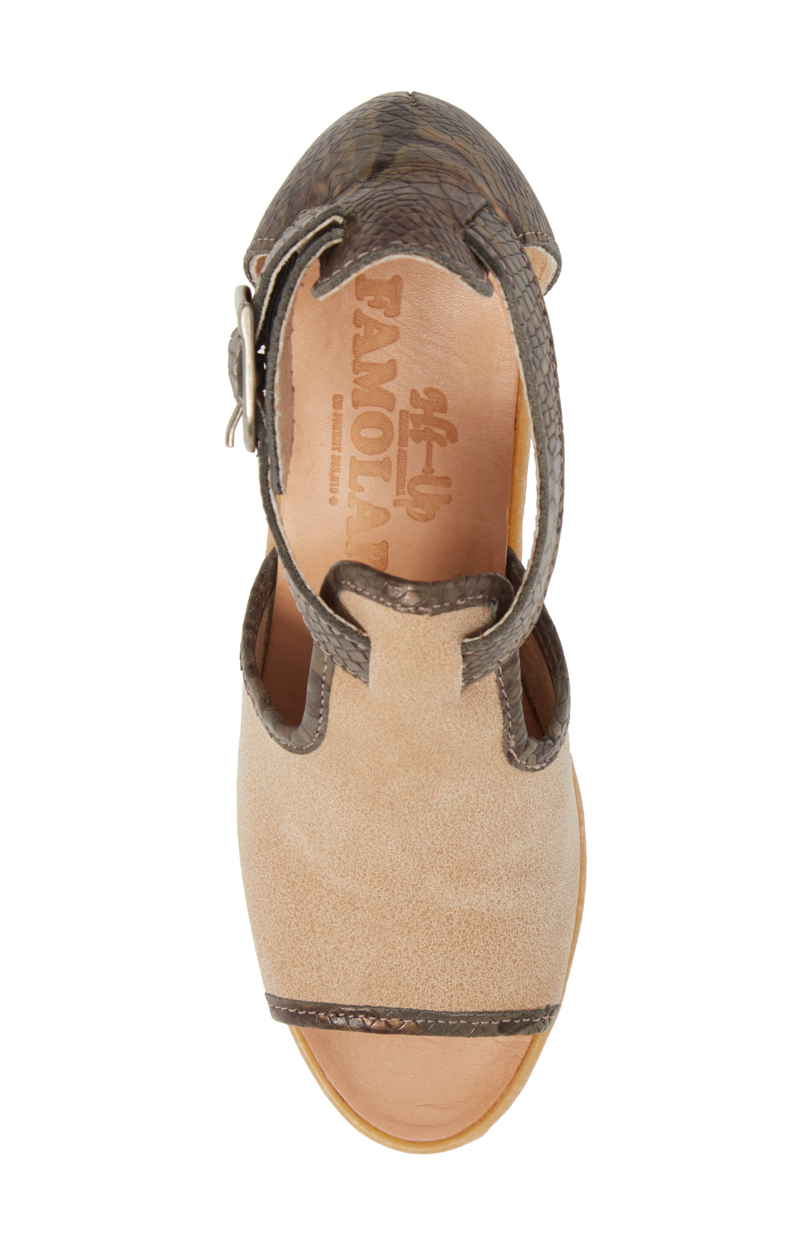 Queen Bee Wedge Sandal,                             Alternate thumbnail 5, color,                             Nude Mix Leather