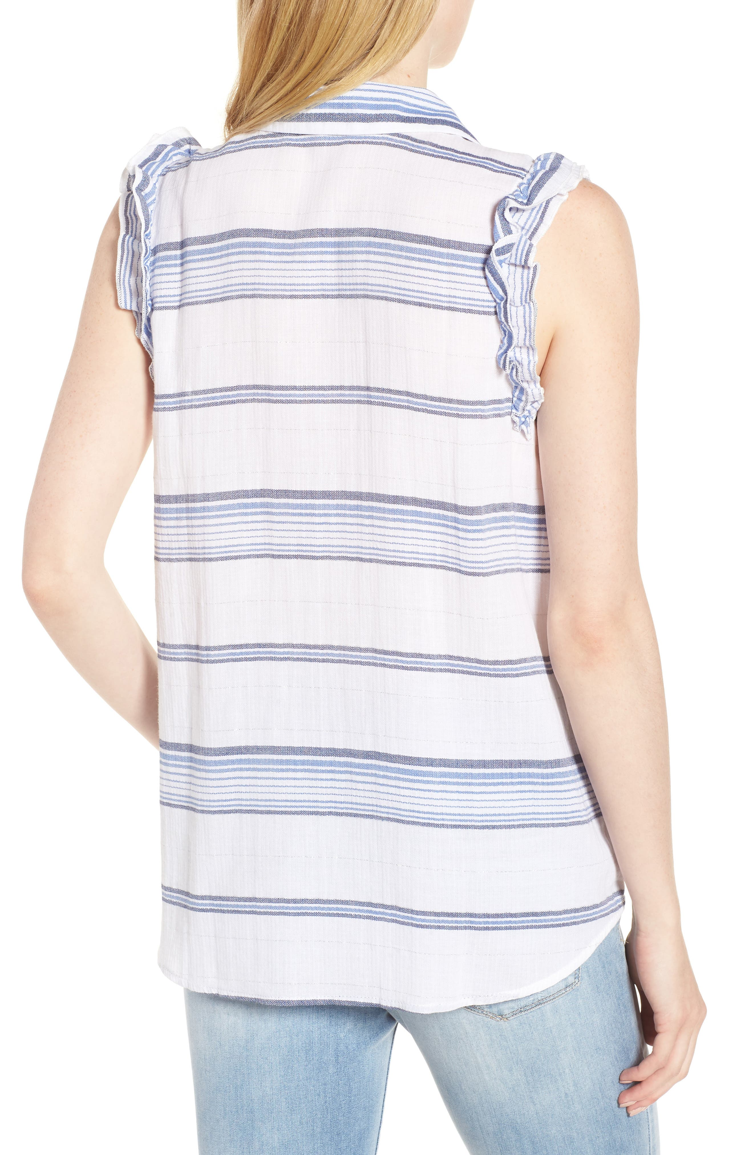 Ruffled Sleeve Striped Top,                             Alternate thumbnail 2, color,                             Blue/ White