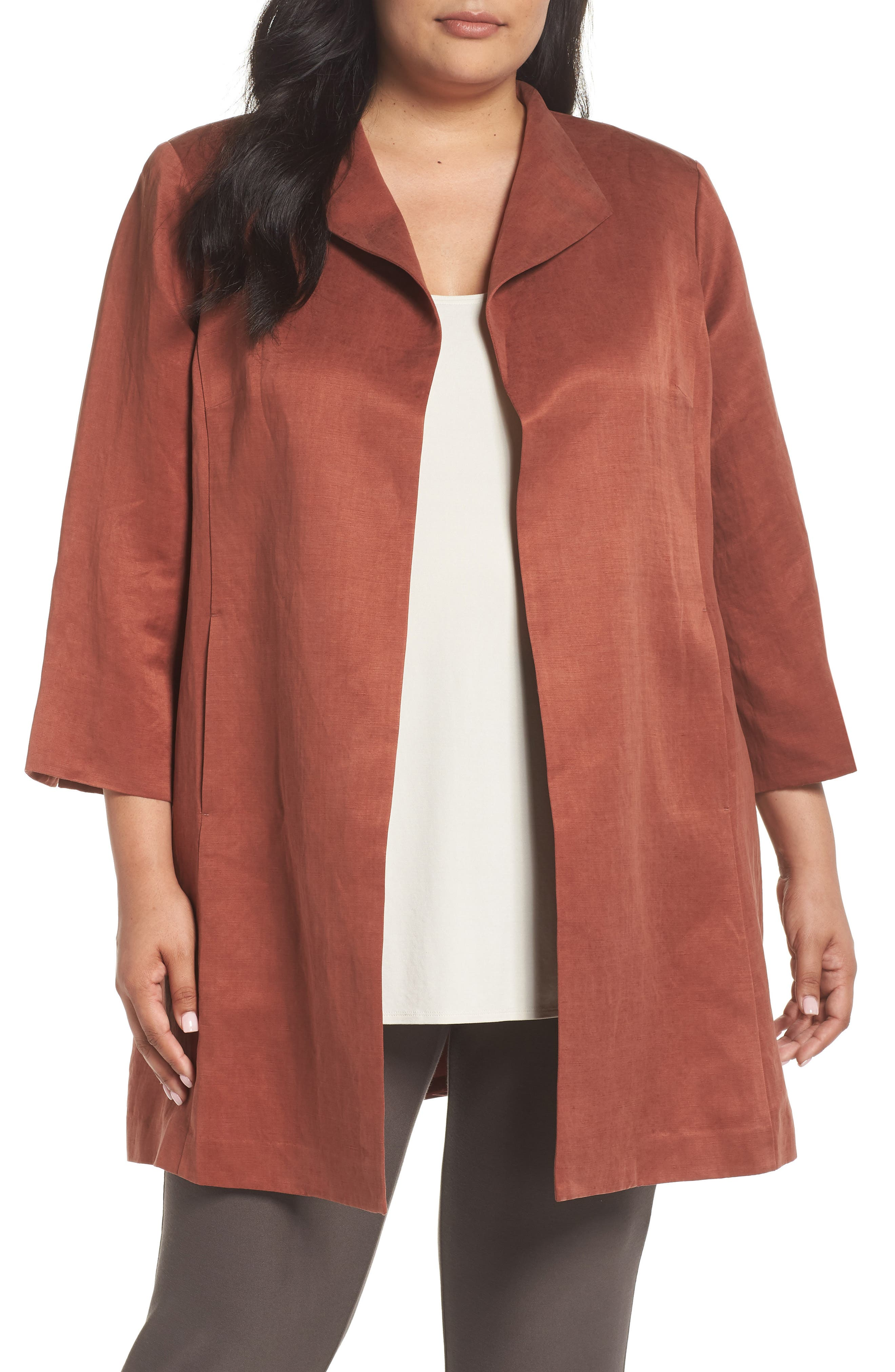 Alternate Image 1 Selected - Eileen Fisher Linen & Silk High Collar Coat (Plus Size)