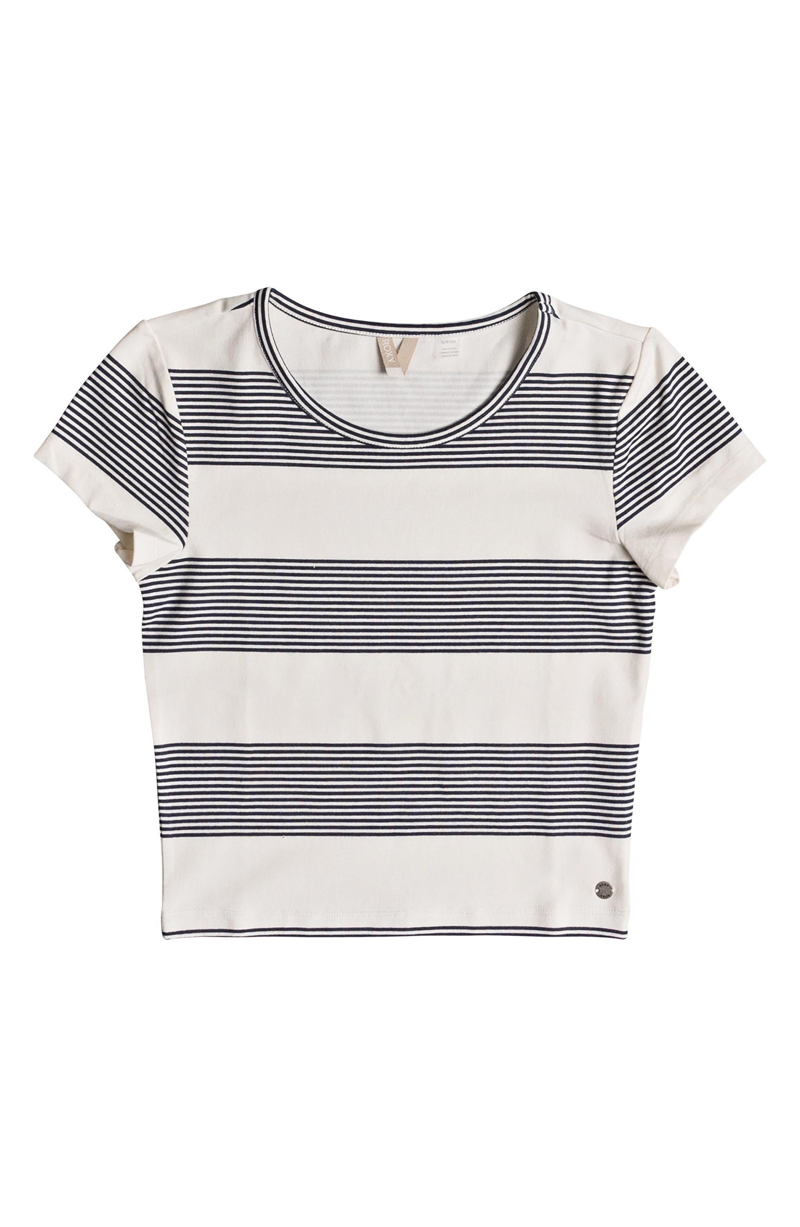 Parker Stripe Crop Top,                             Alternate thumbnail 4, color,                             Marshmallow Dress Blue Docker