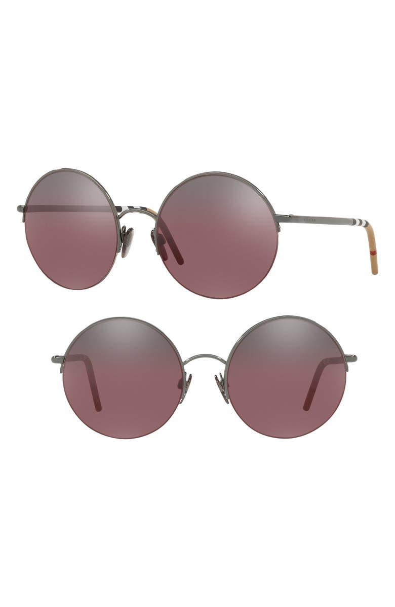 8081b8b269 Burberry 54Mm Round Sunglasses - Dark Gunmetal Gradient Mirror ...