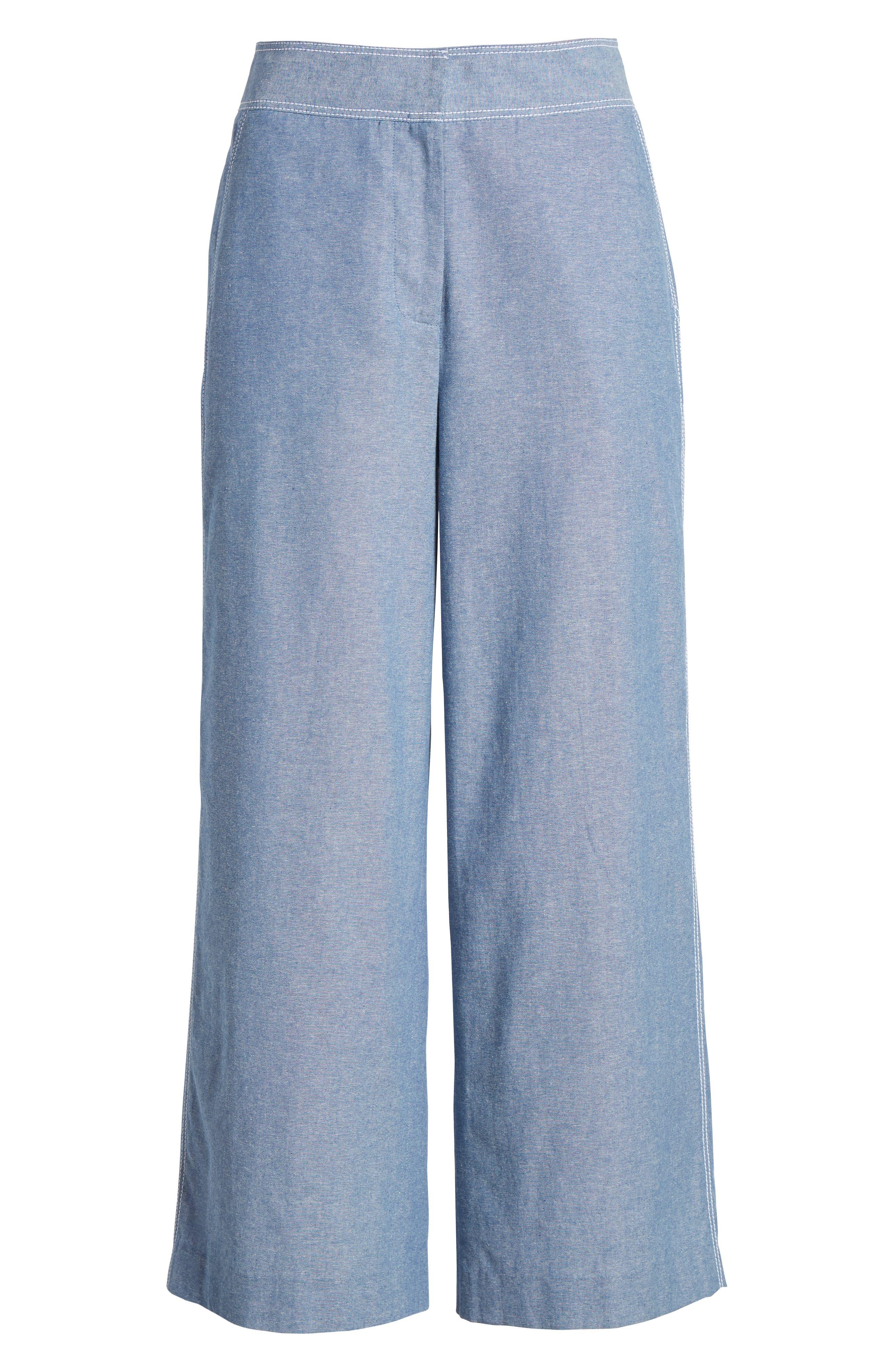 Wide Leg Linen Blend Pants,                             Alternate thumbnail 7, color,                             Chambray