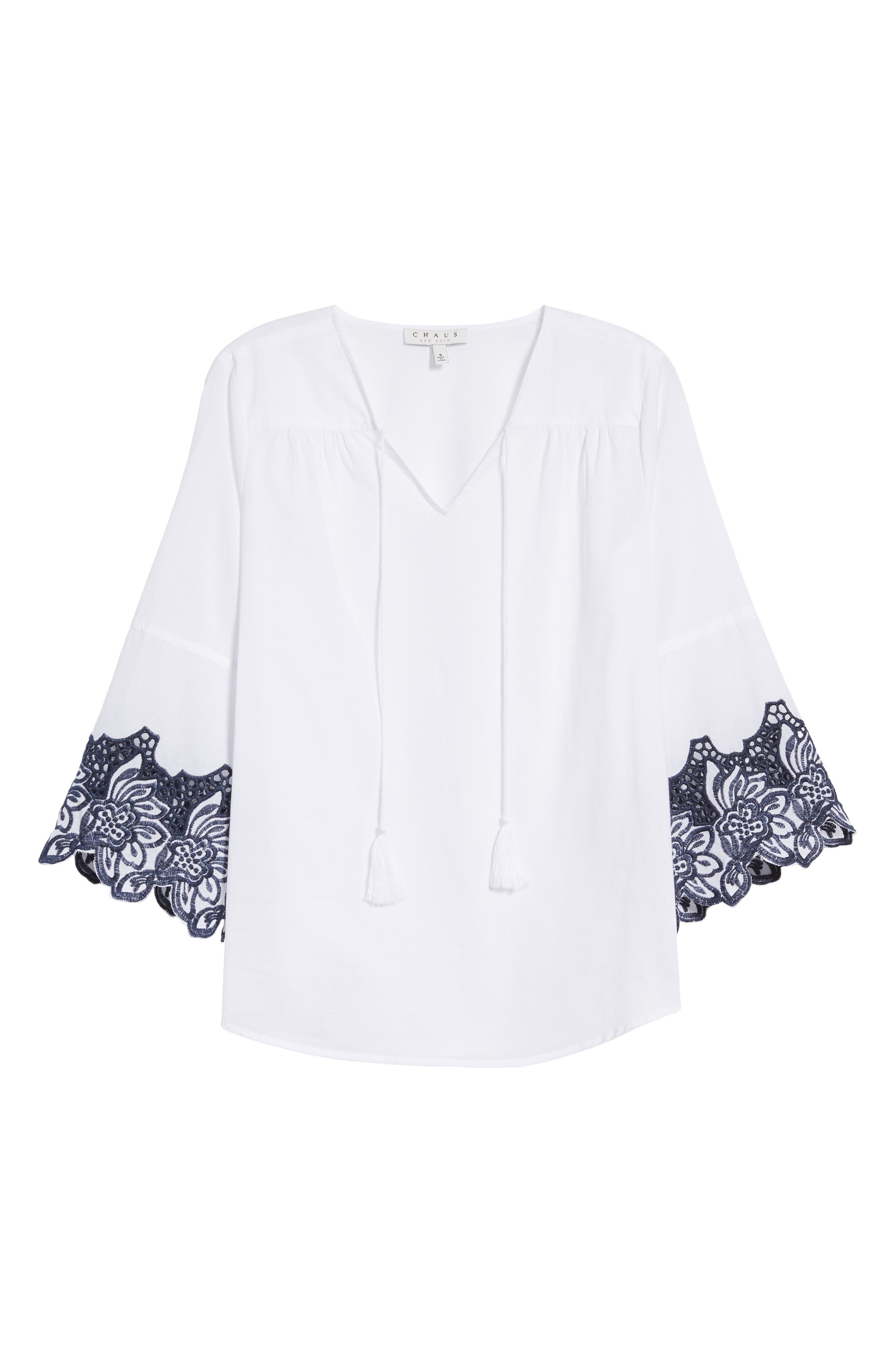 Bell Sleeve Embroidered Trim Blouse,                             Alternate thumbnail 7, color,                             Ultra White