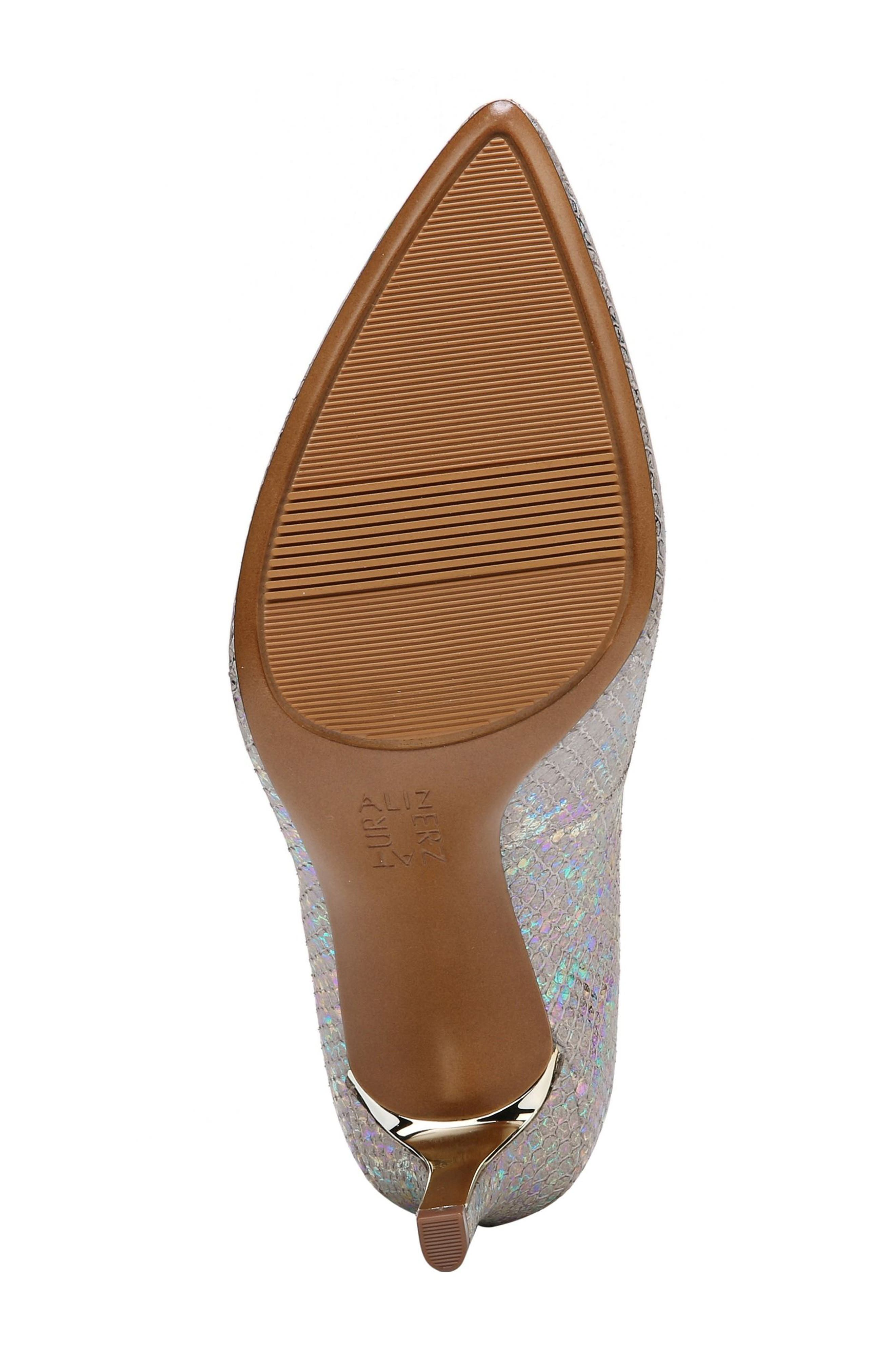 Natalie Pointy Toe Pump,                             Alternate thumbnail 6, color,                             Silver Snake Print Leather