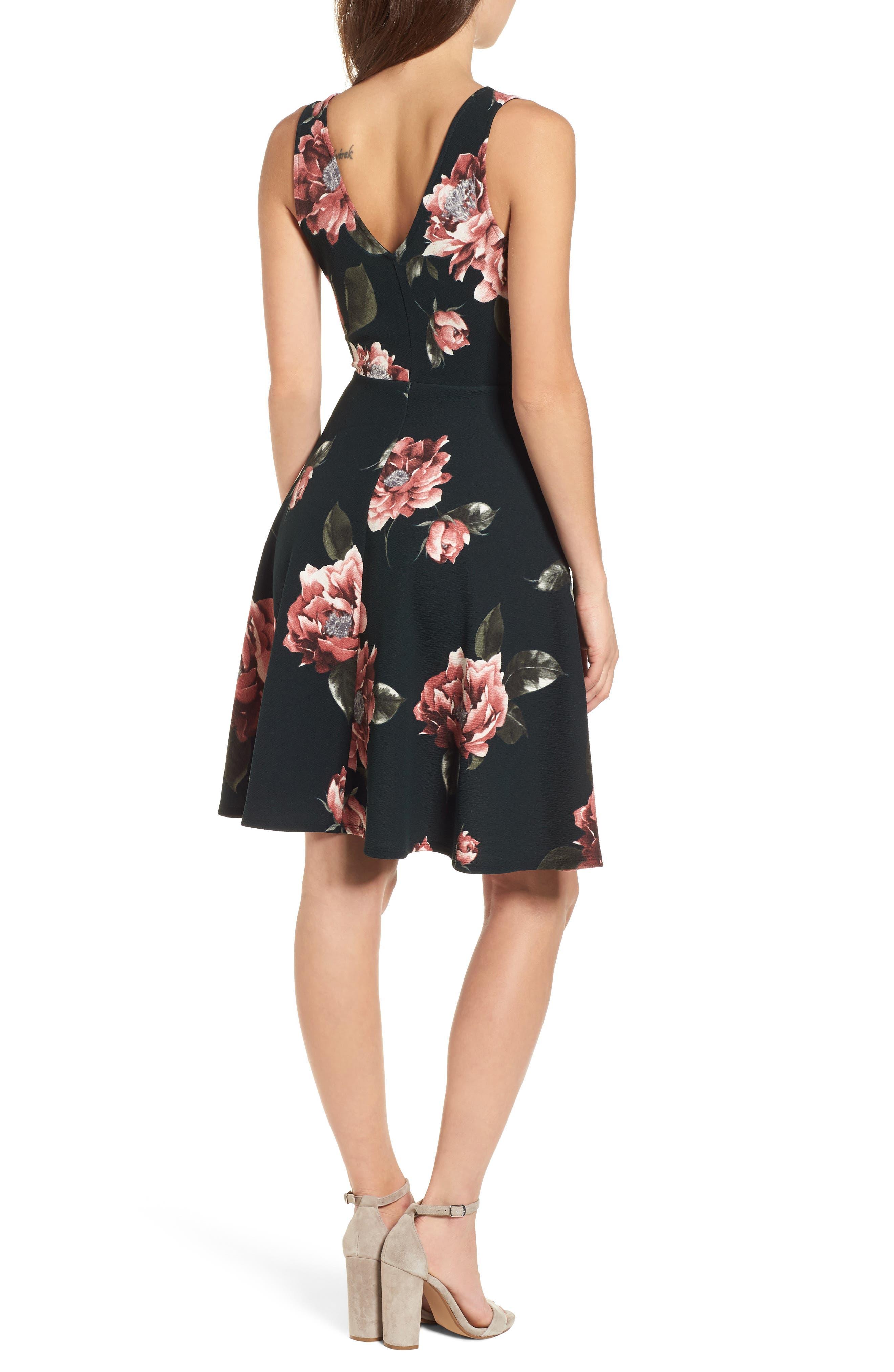 Floral Print Fit & Flare Dress,                             Alternate thumbnail 2, color,                             Pine