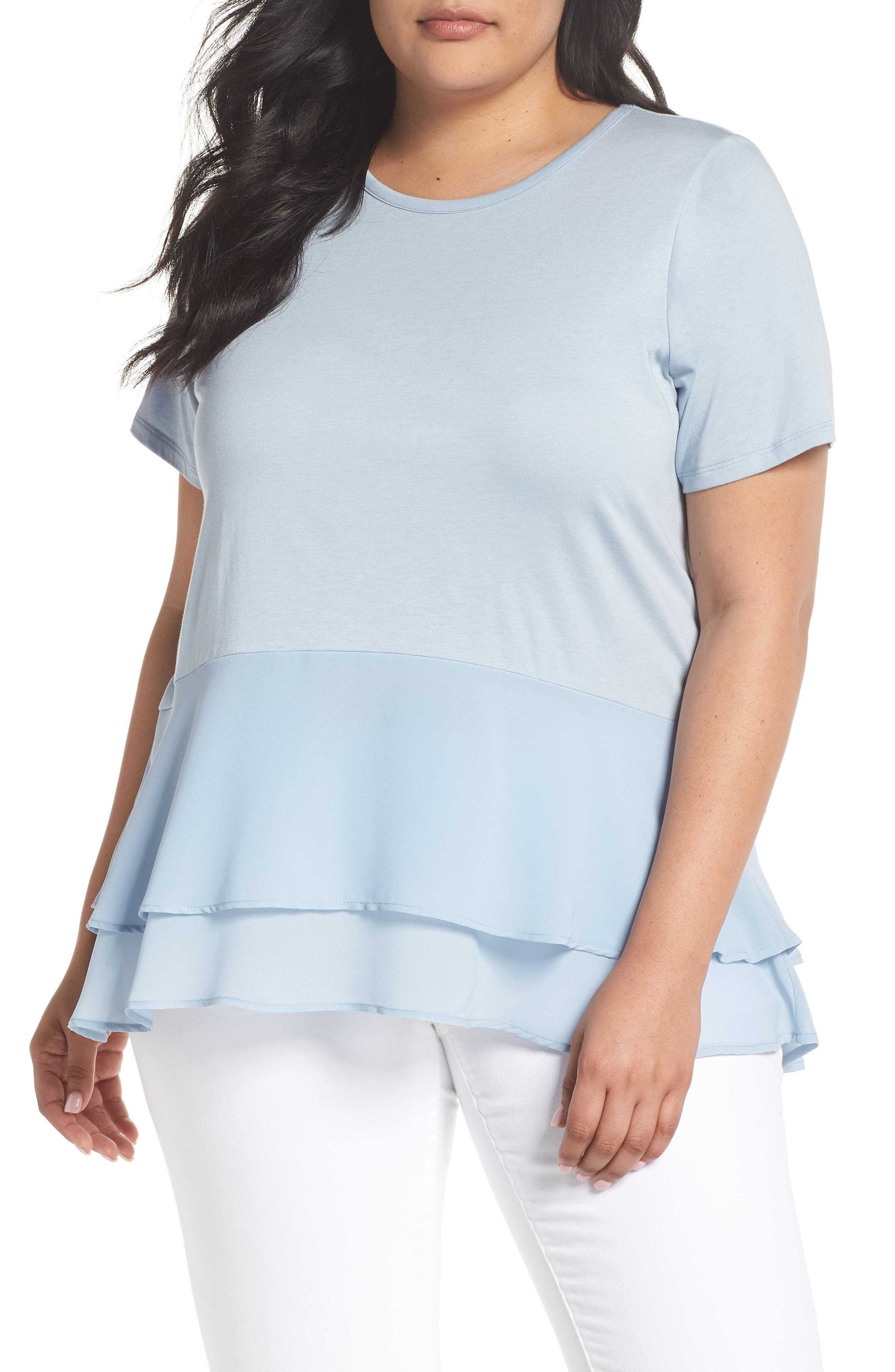 Double Hem Top,                         Main,                         color, Light Chambray