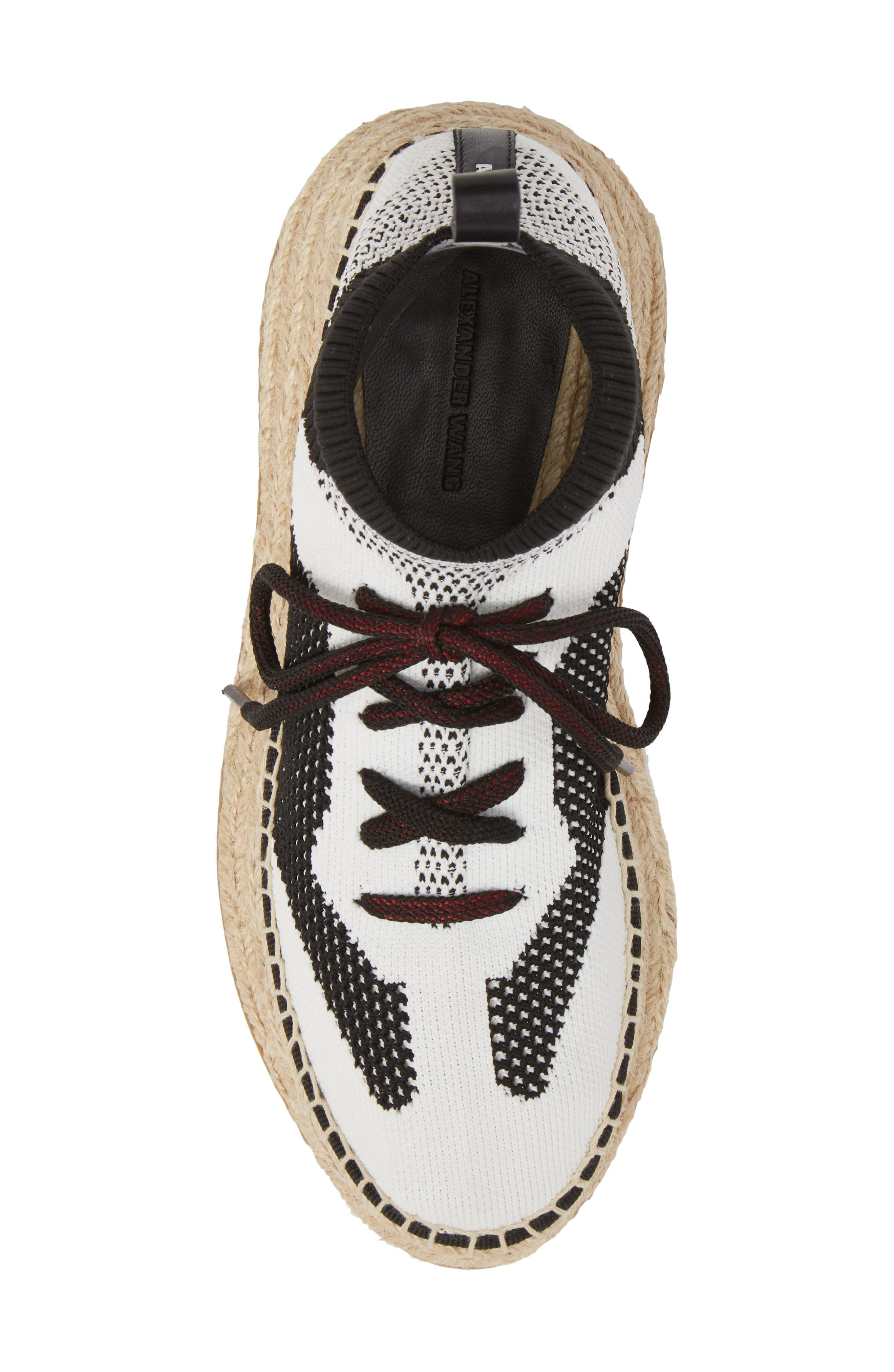 Dakota Espadrille Sock Sneaker,                             Alternate thumbnail 5, color,                             Black/ White/ Grey