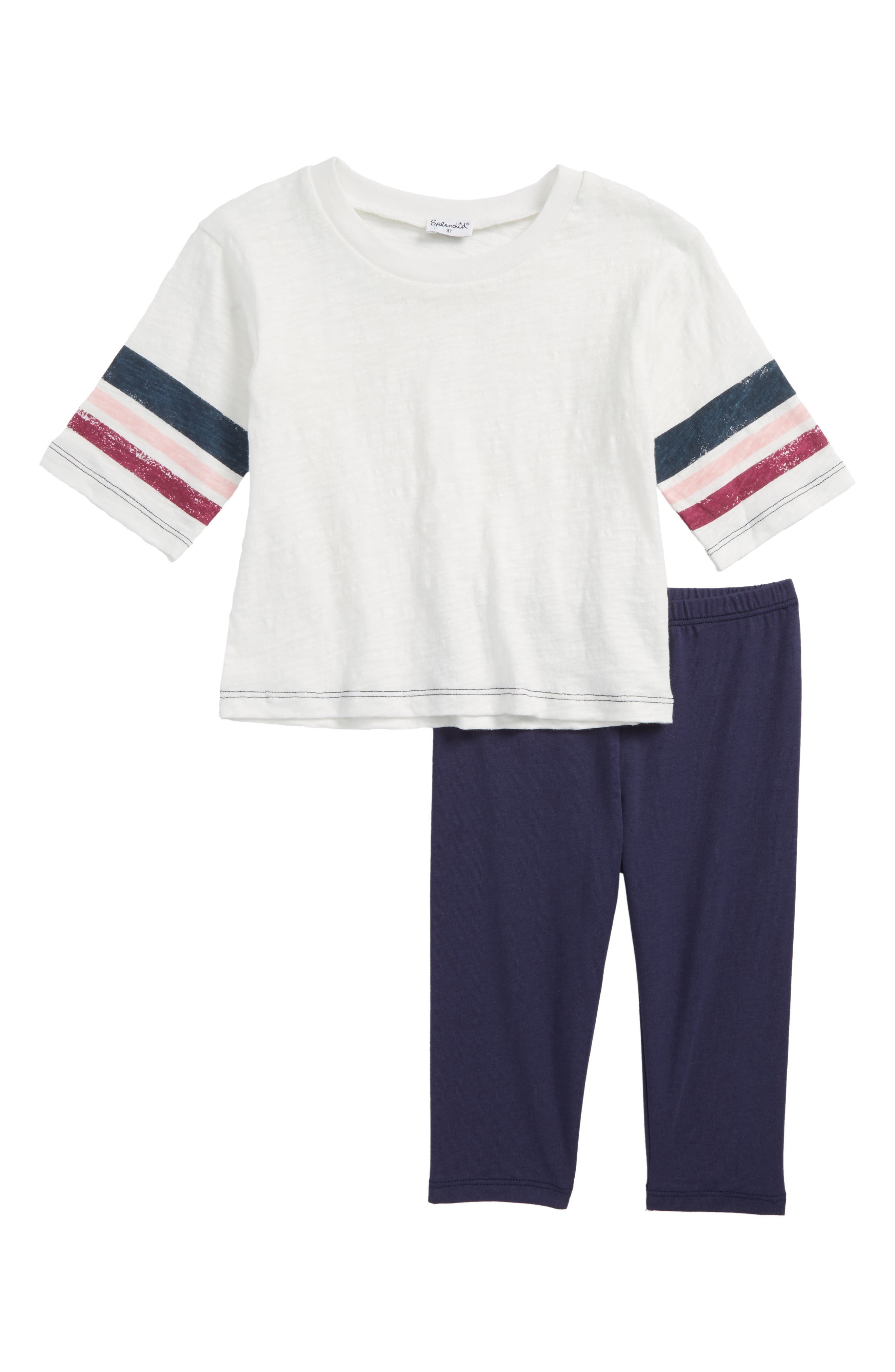 Roller Stripe Tee & Leggings Set,                         Main,                         color, Off White