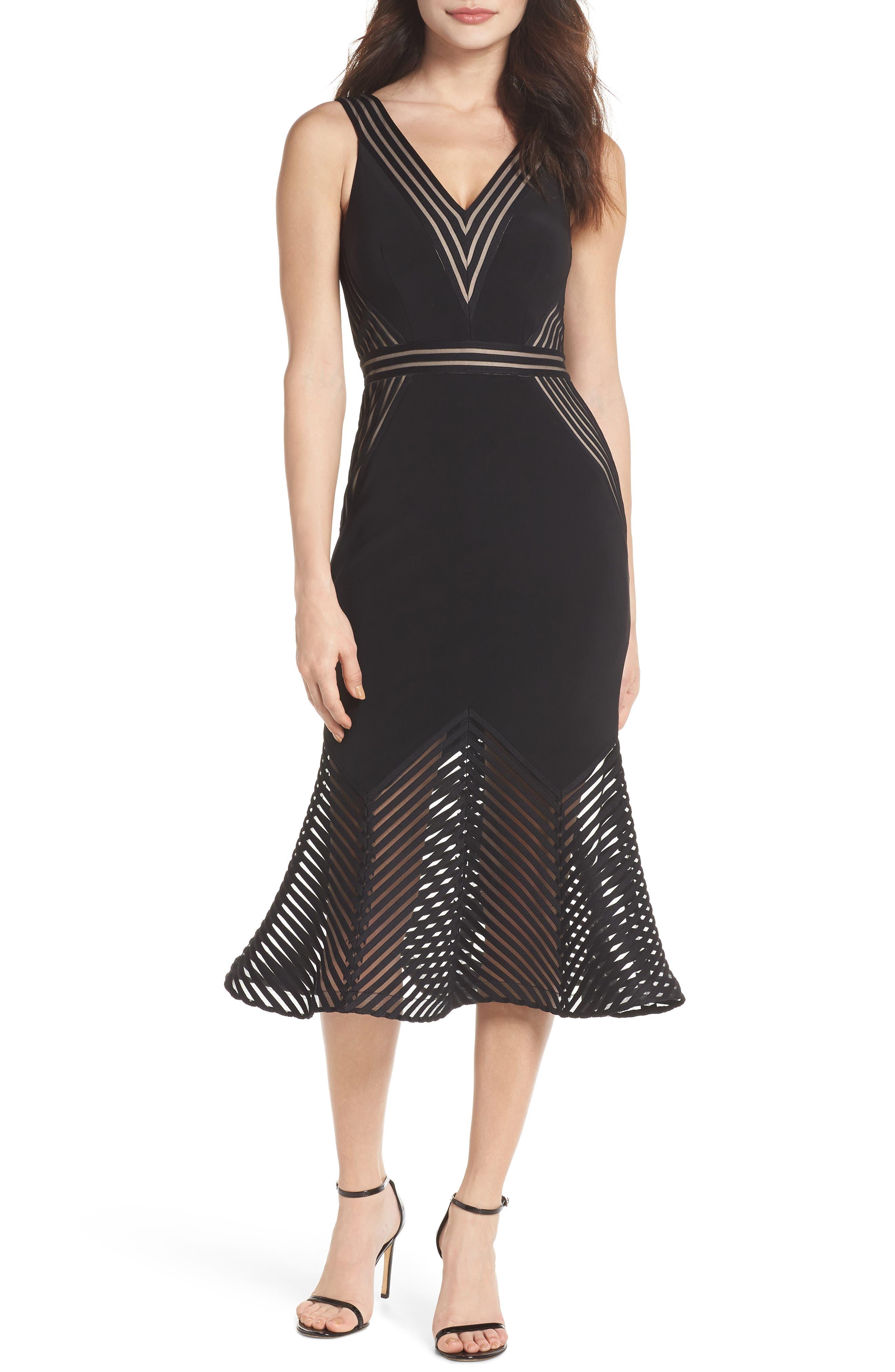 Illusion Hem Trumpet Dress,                         Main,                         color, Black