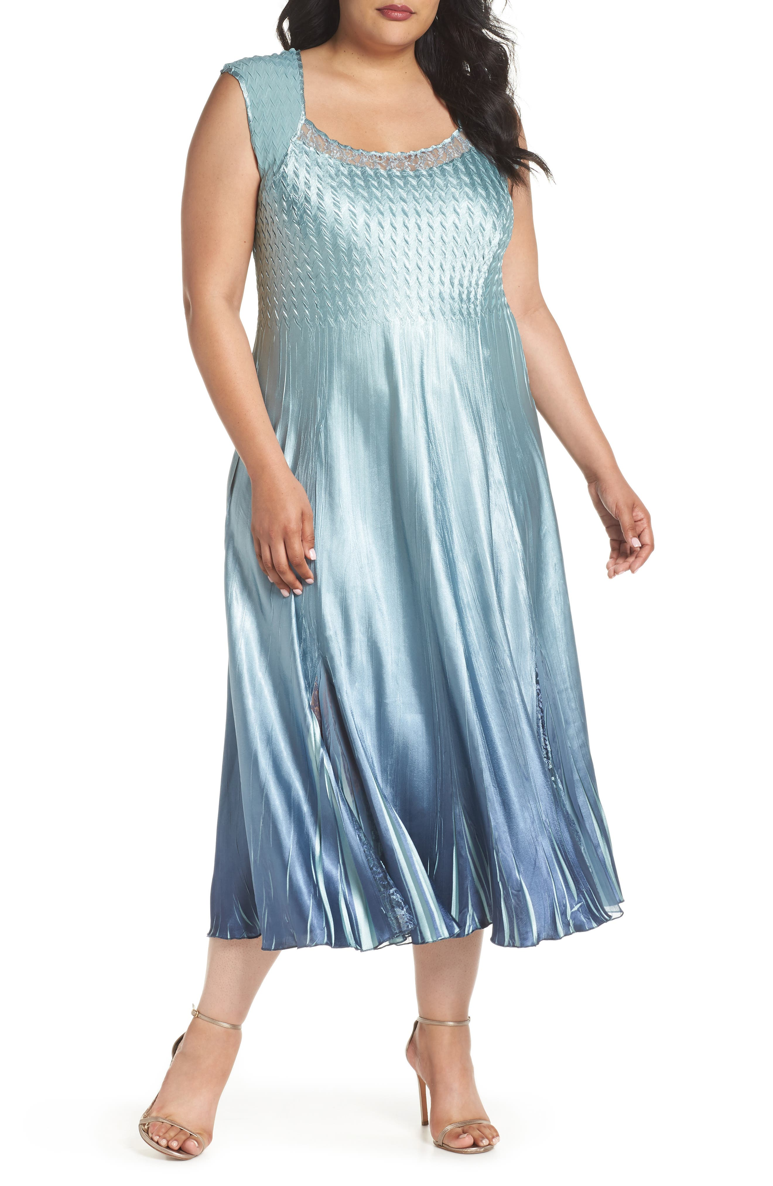 Lace & Charmeuse A-Lined Dress with Jacket,                             Alternate thumbnail 7, color,                             Ocean Blue Night Ombre