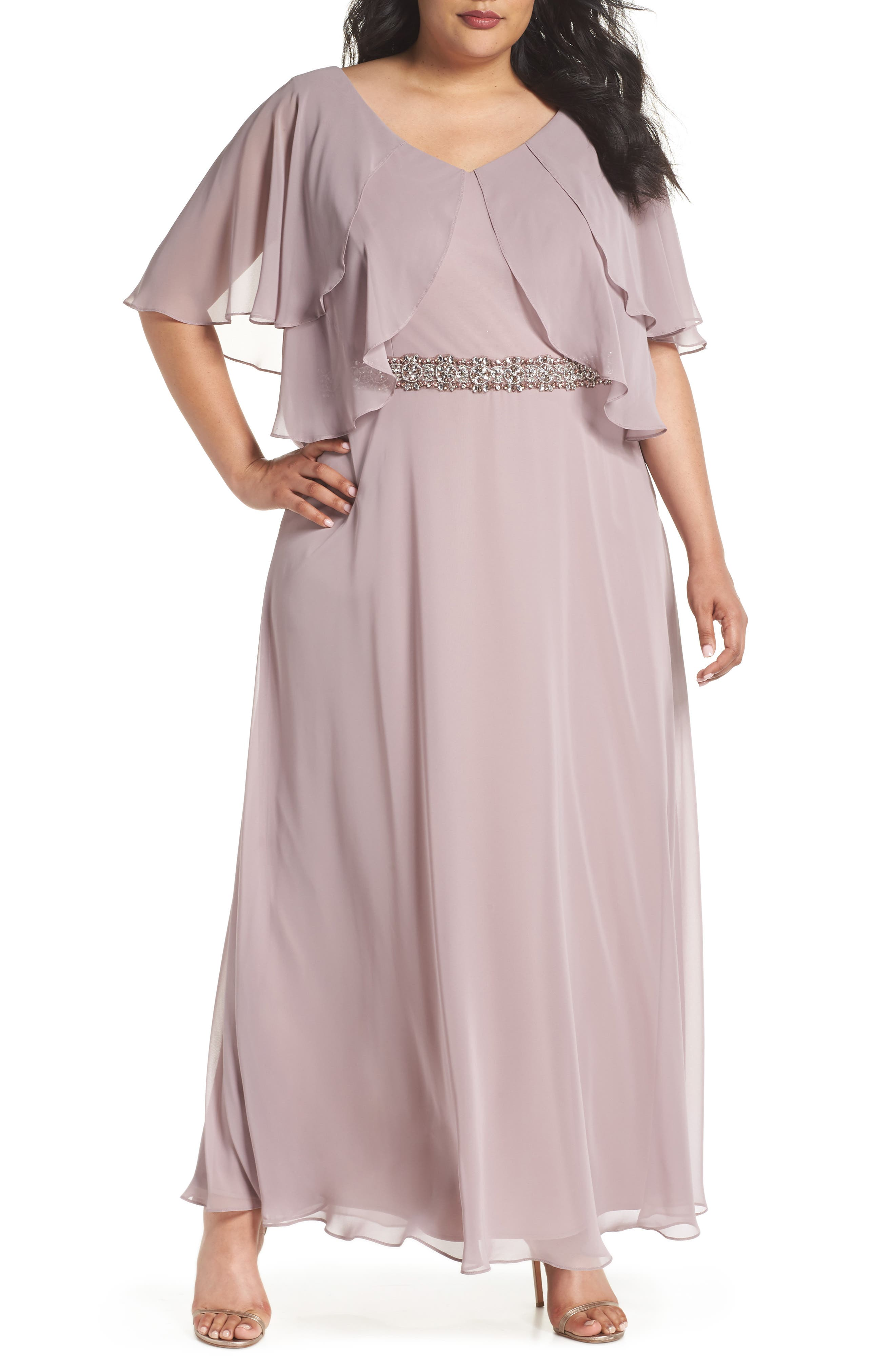 Alex Evenings Embellished Waist Flutter Dress (Plus Size)