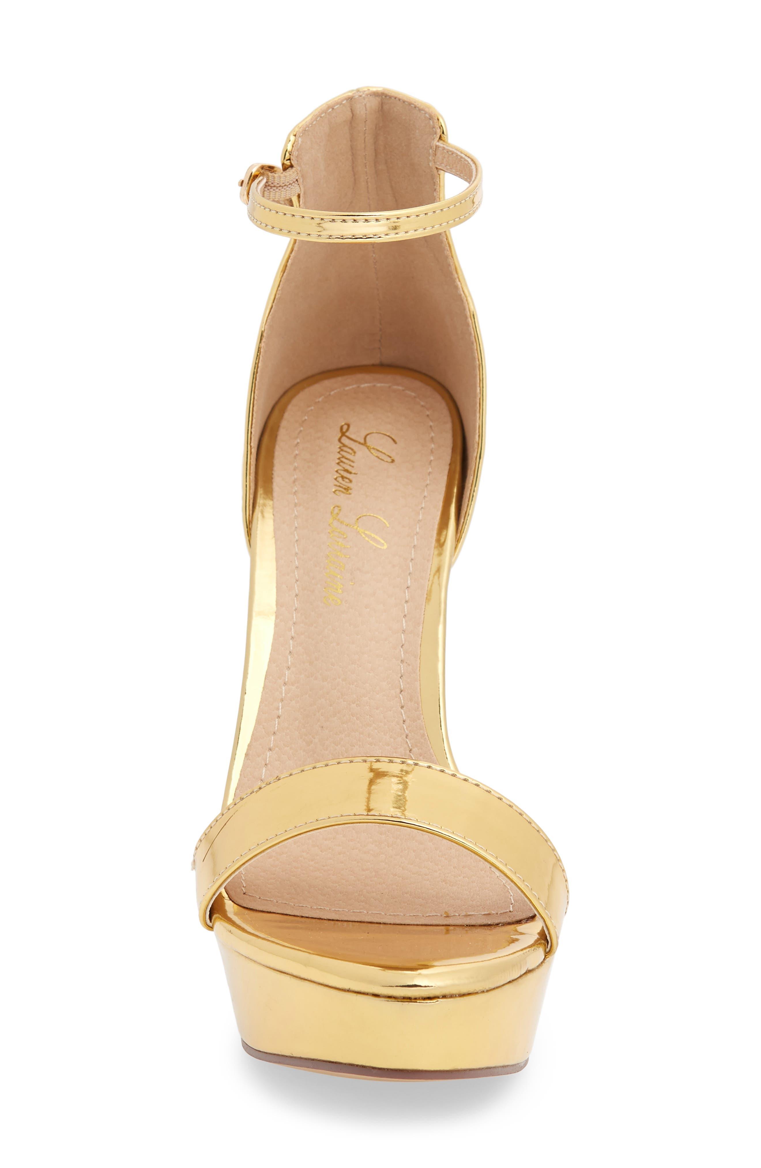 Darlene Platform Sandal,                             Alternate thumbnail 4, color,                             Gold