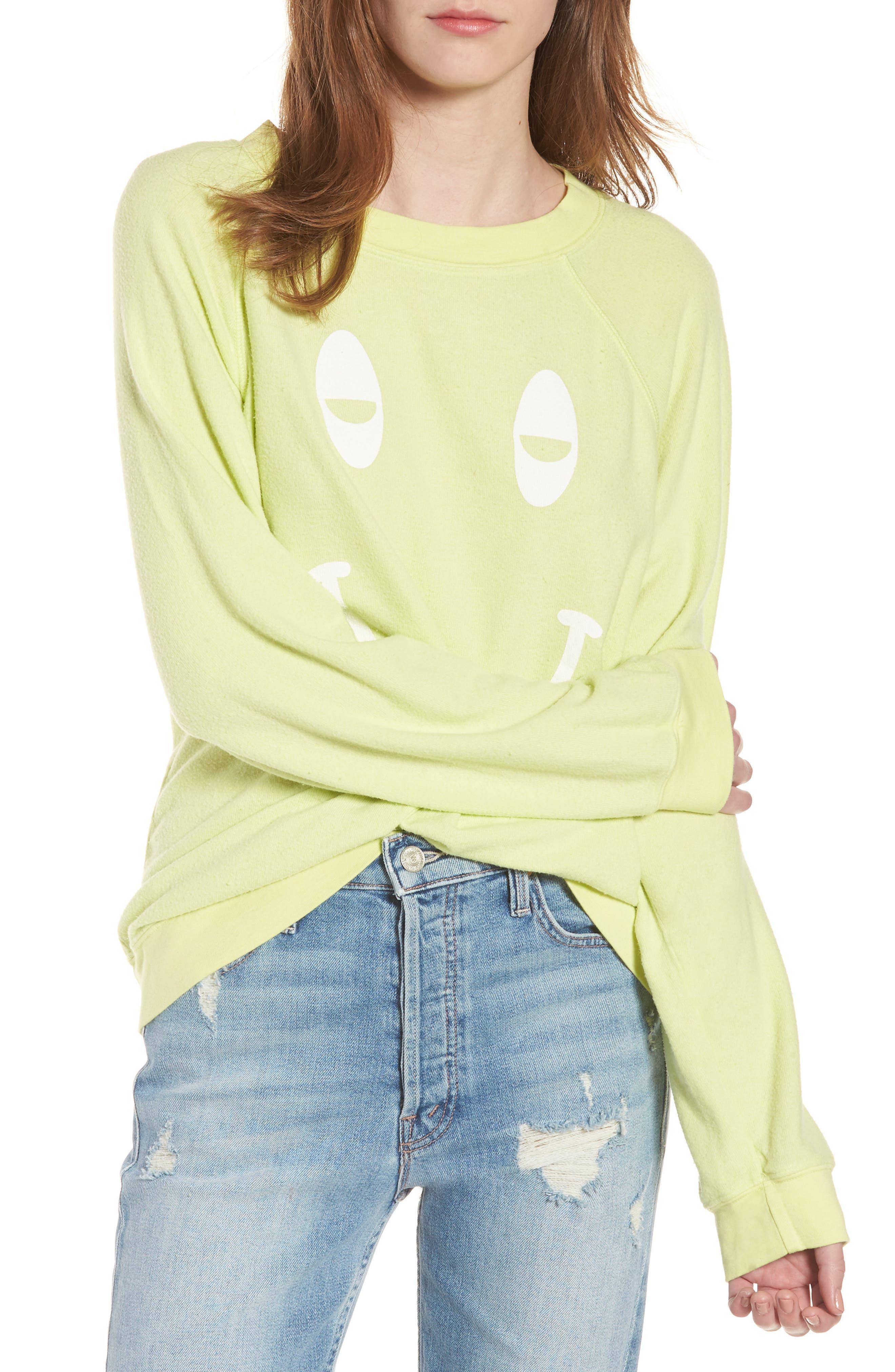 Sleepy Smiley Sommers Sweatshirt,                         Main,                         color, Yellow Glow
