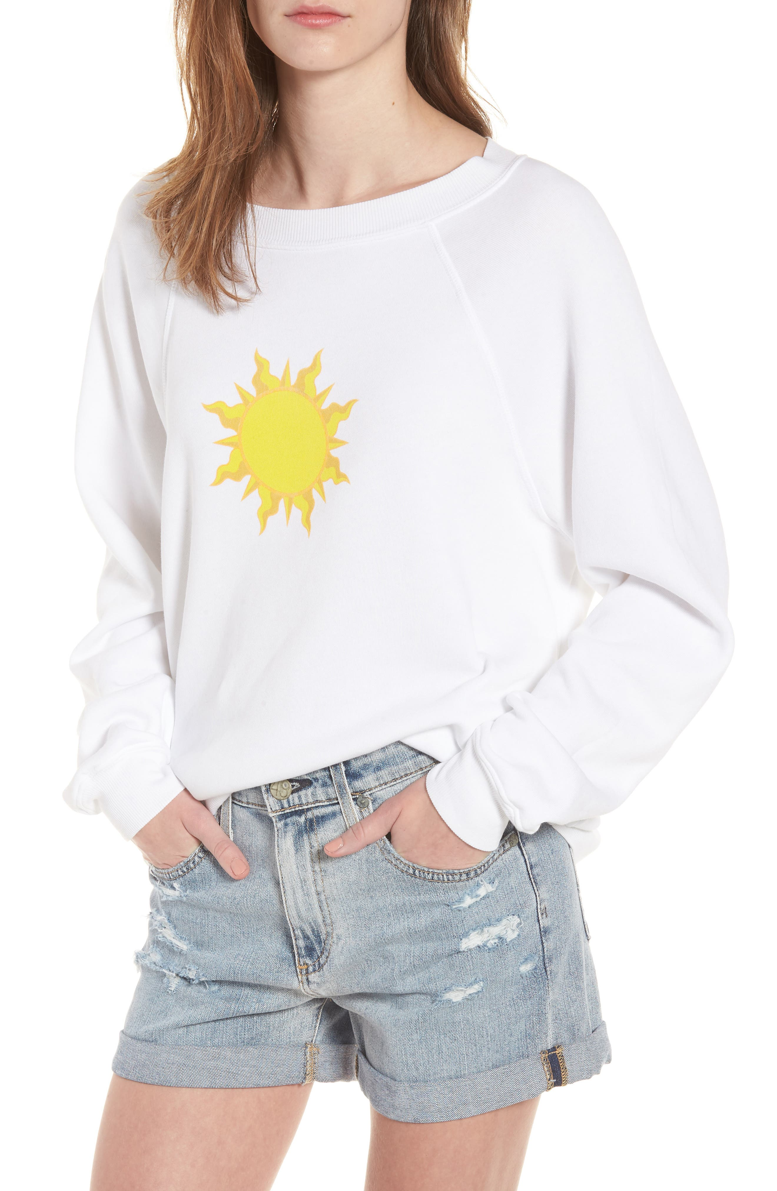 Sunny Disposition Sommers Sweatshirt,                             Main thumbnail 1, color,                             Clean White