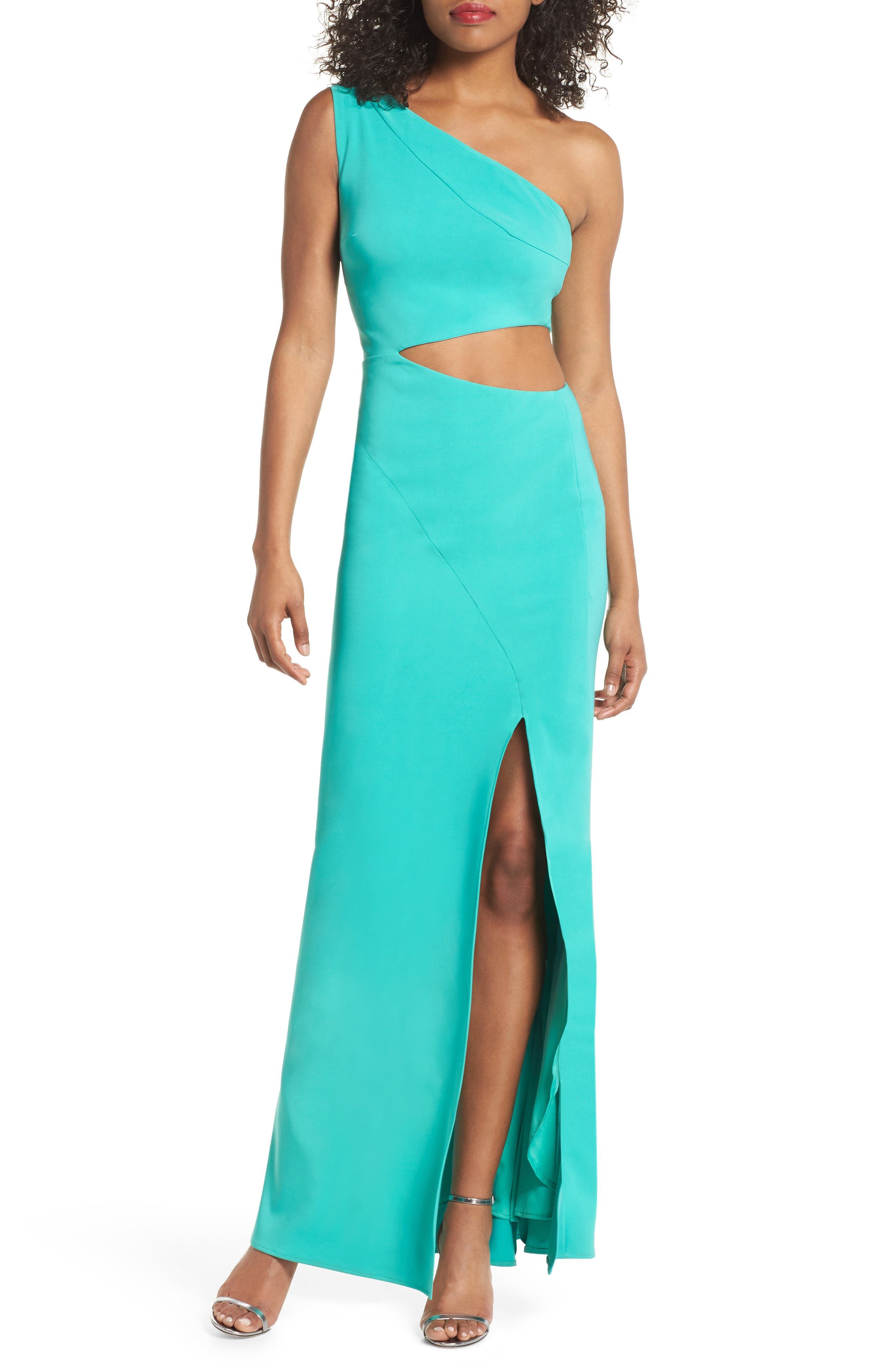 Cameron One-Shoulder Cutout Gown,                         Main,                         color, Jade