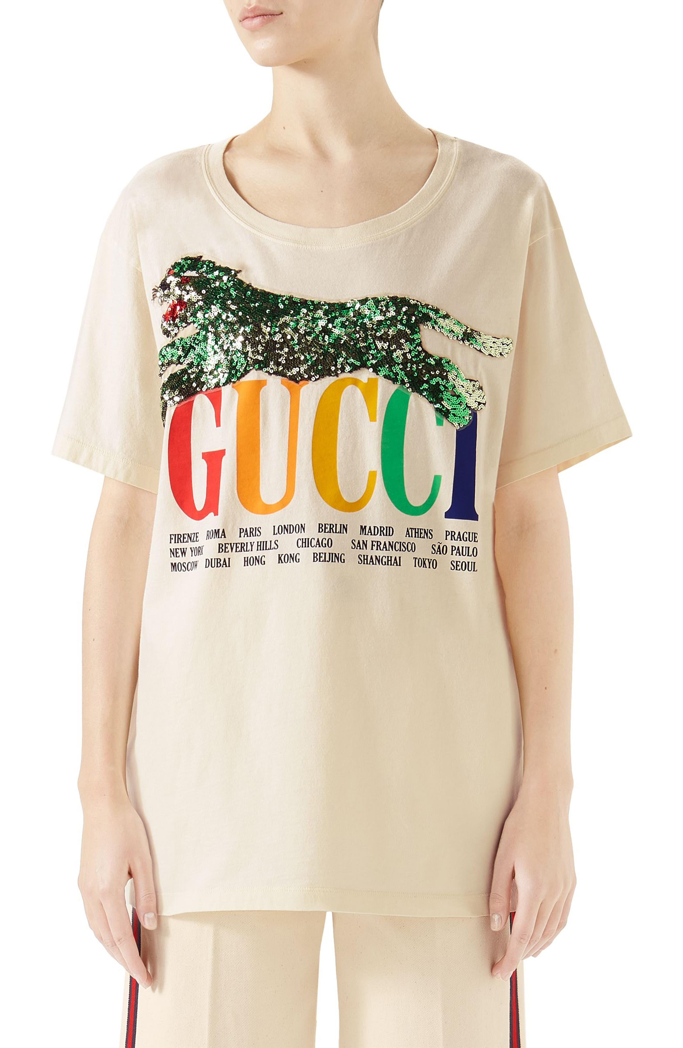Embellished Graphic Tee,                         Main,                         color, Sunkissed/ Multicolor