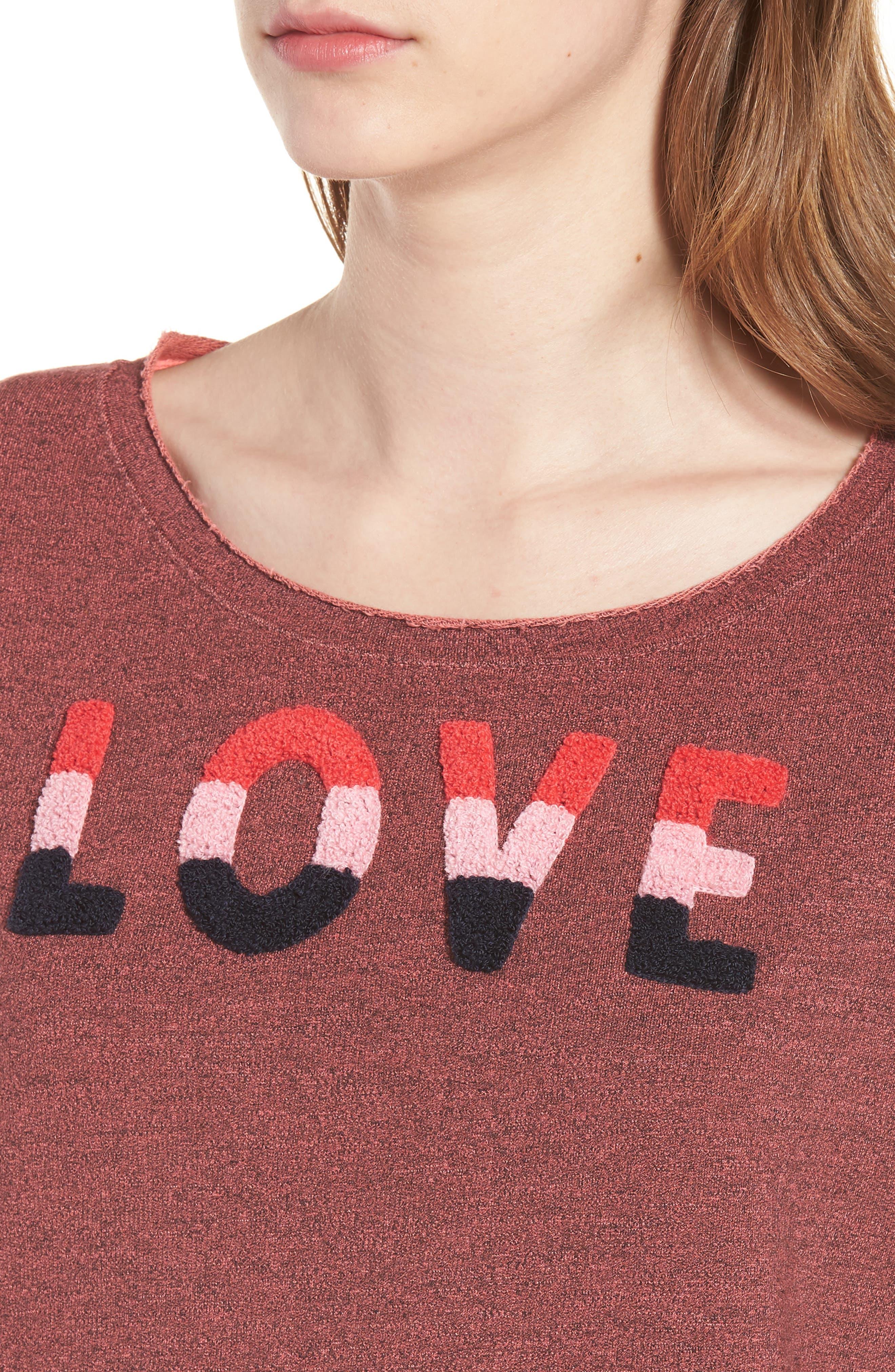 Love Raw Edge Pullover,                             Alternate thumbnail 4, color,                             Hibiscus