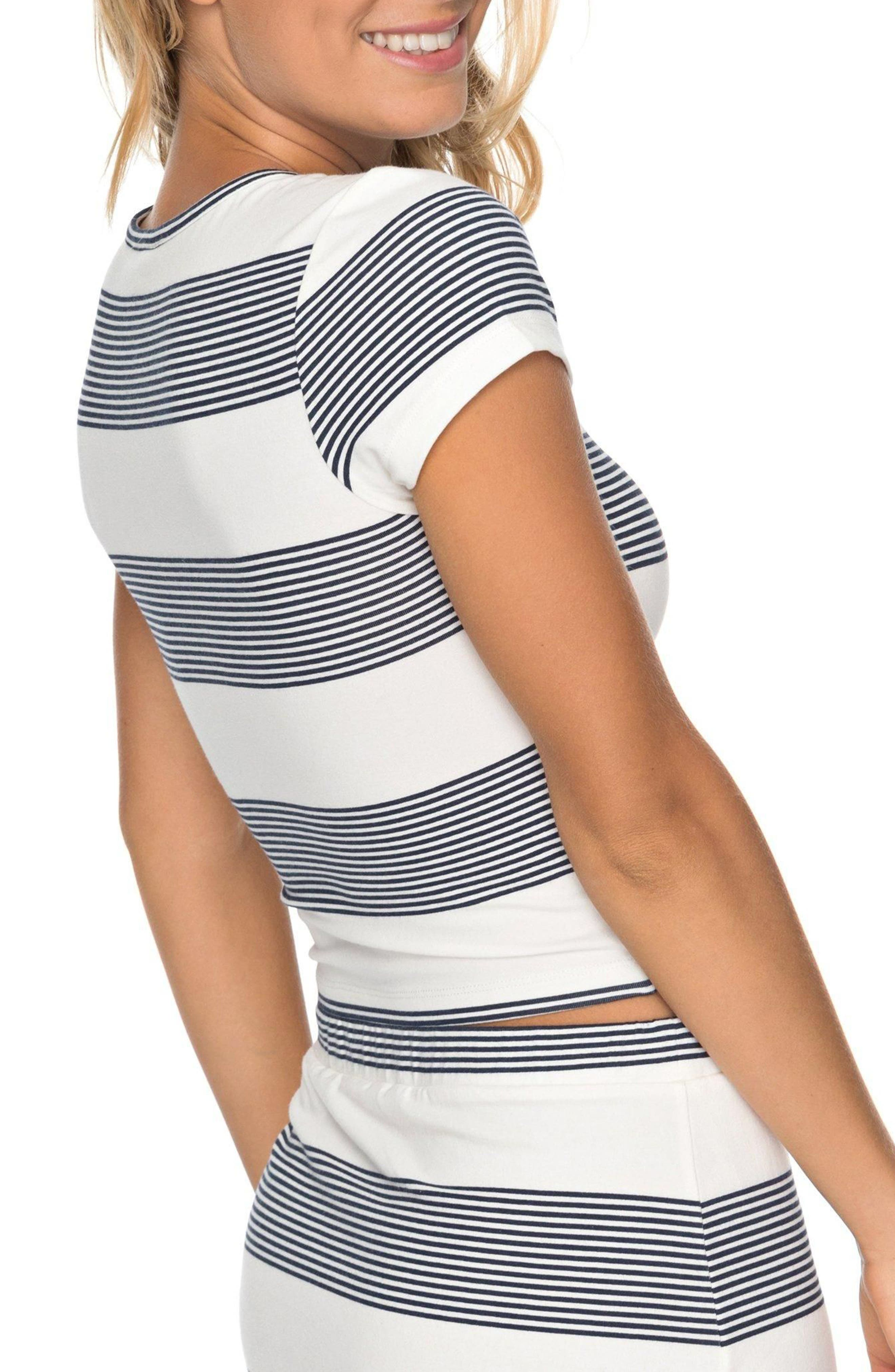 Parker Stripe Crop Top,                             Alternate thumbnail 3, color,                             Marshmallow Dress Blue Docker
