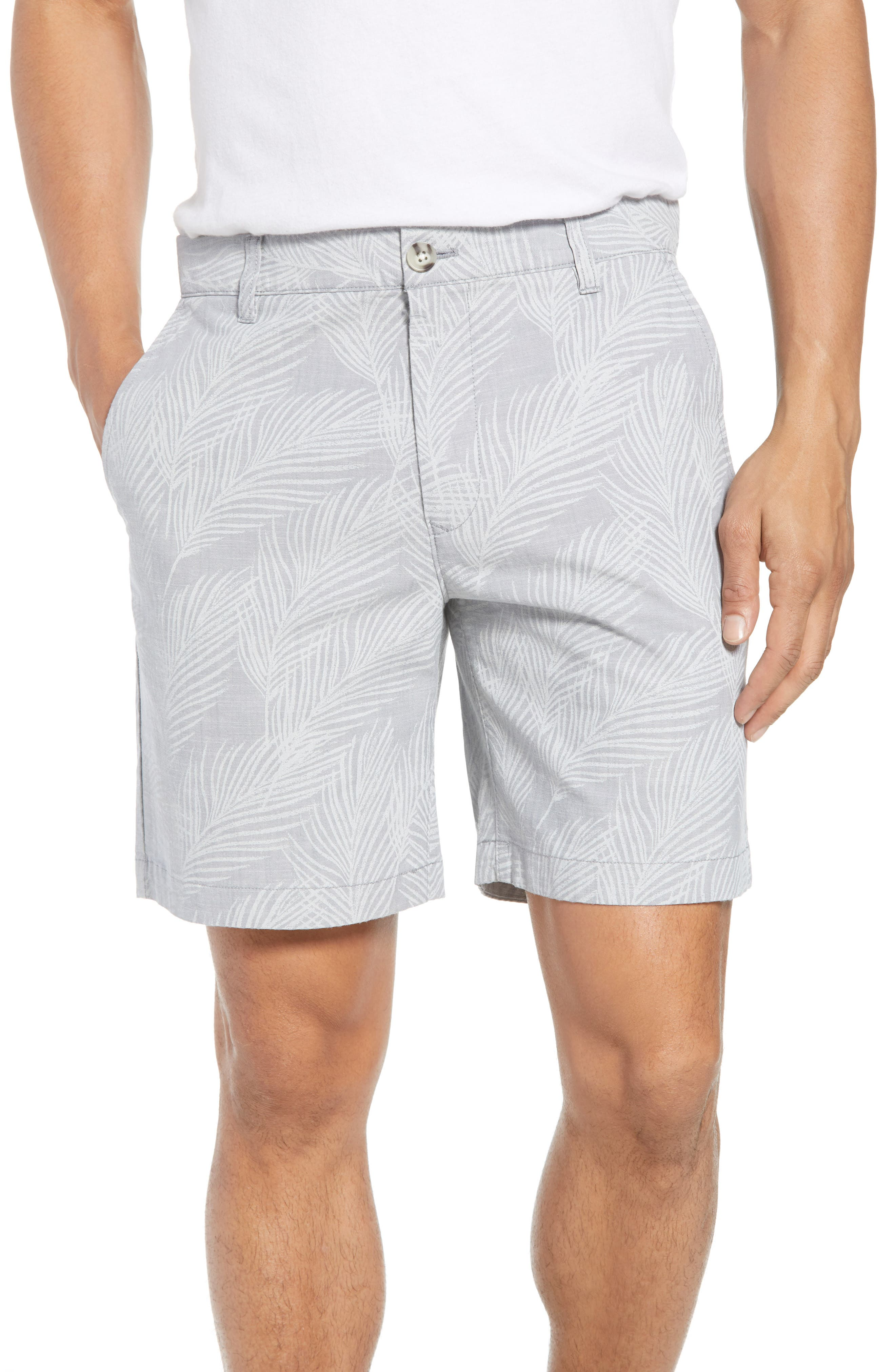 Print Stretch Chino Shorts,                         Main,                         color, Breezy Palms Chambray