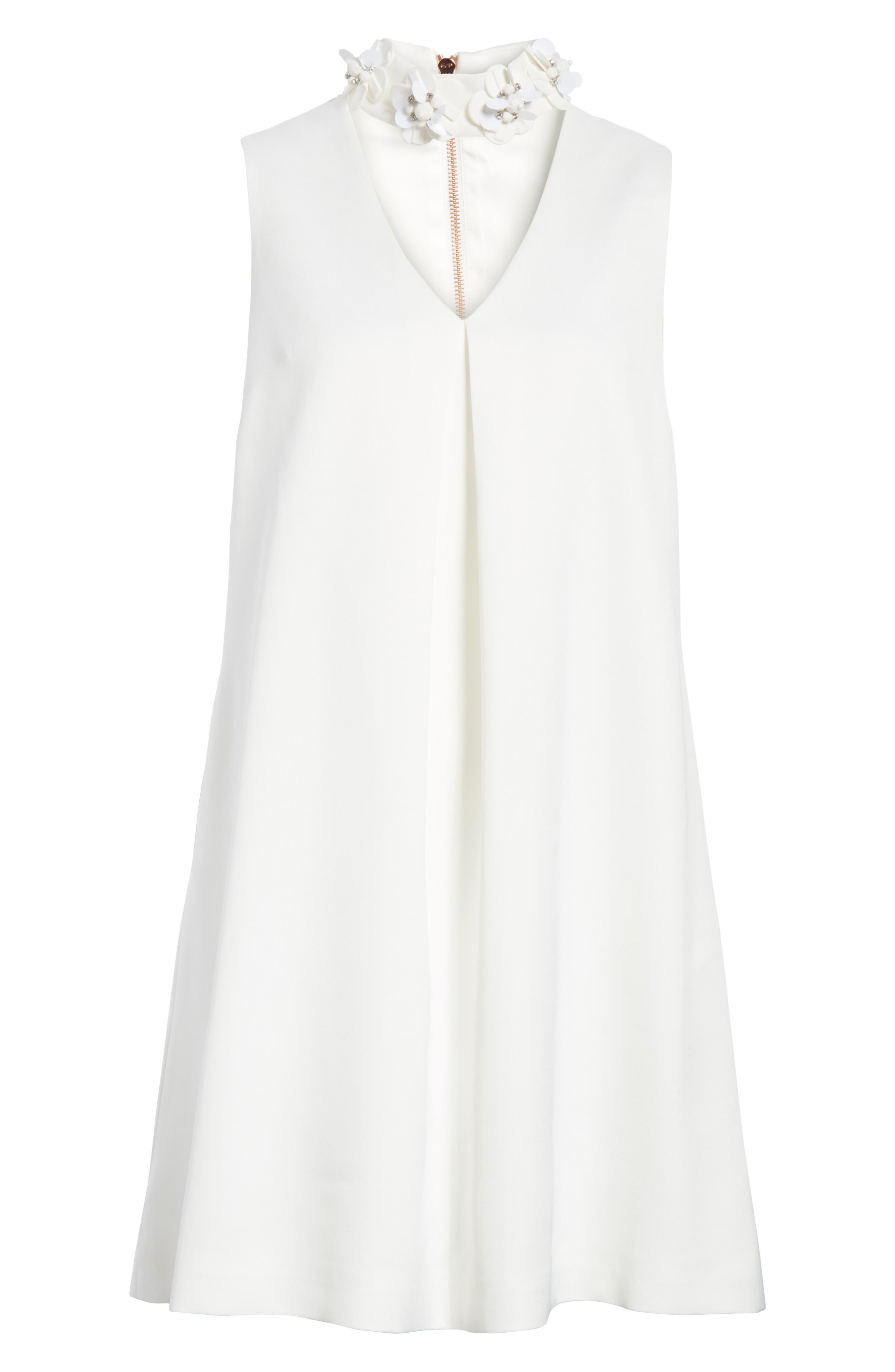 Embellished Neck A-Line Tunic Dress,                             Alternate thumbnail 6, color,                             White