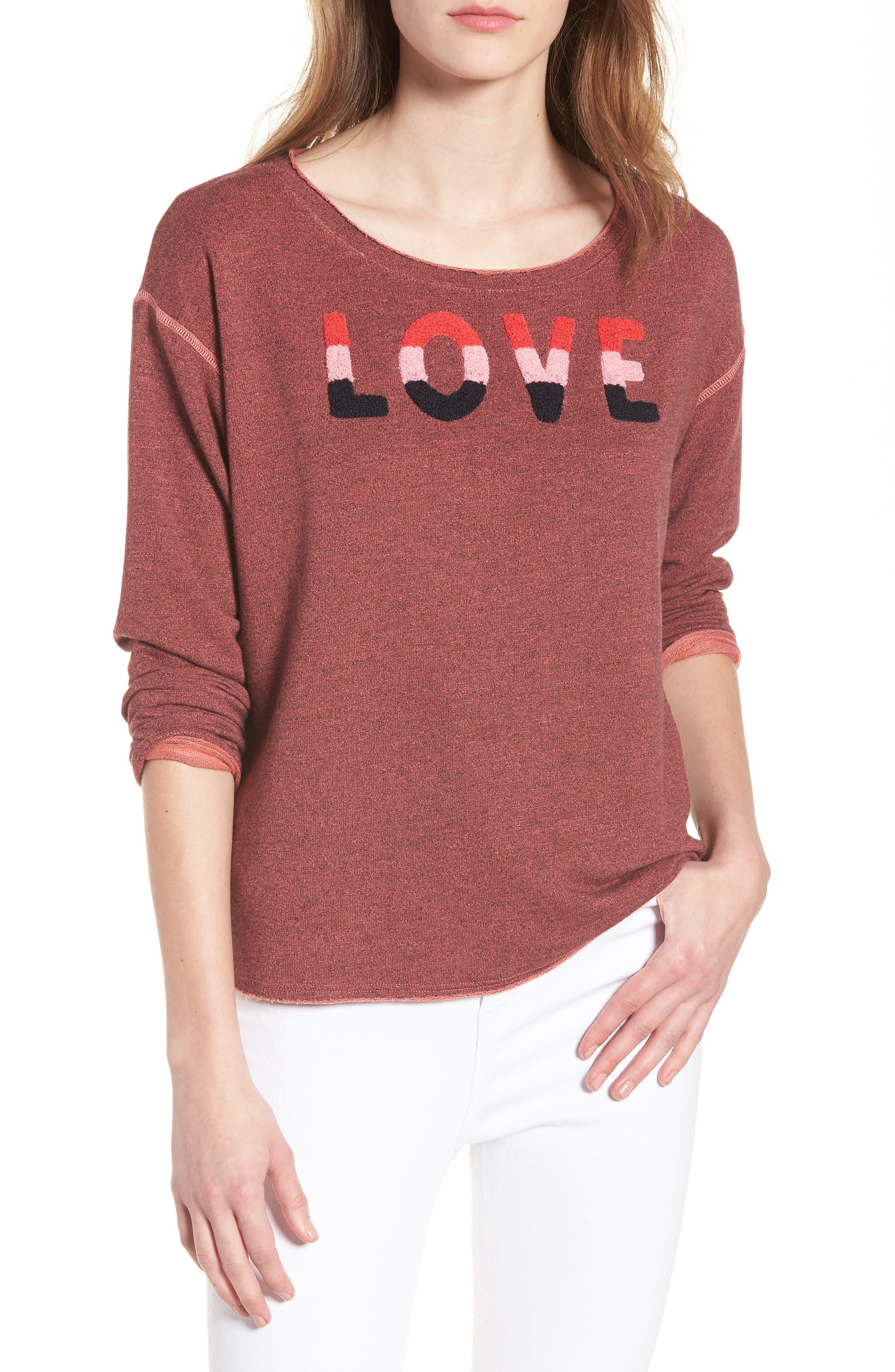 Love Raw Edge Pullover,                         Main,                         color, Hibiscus