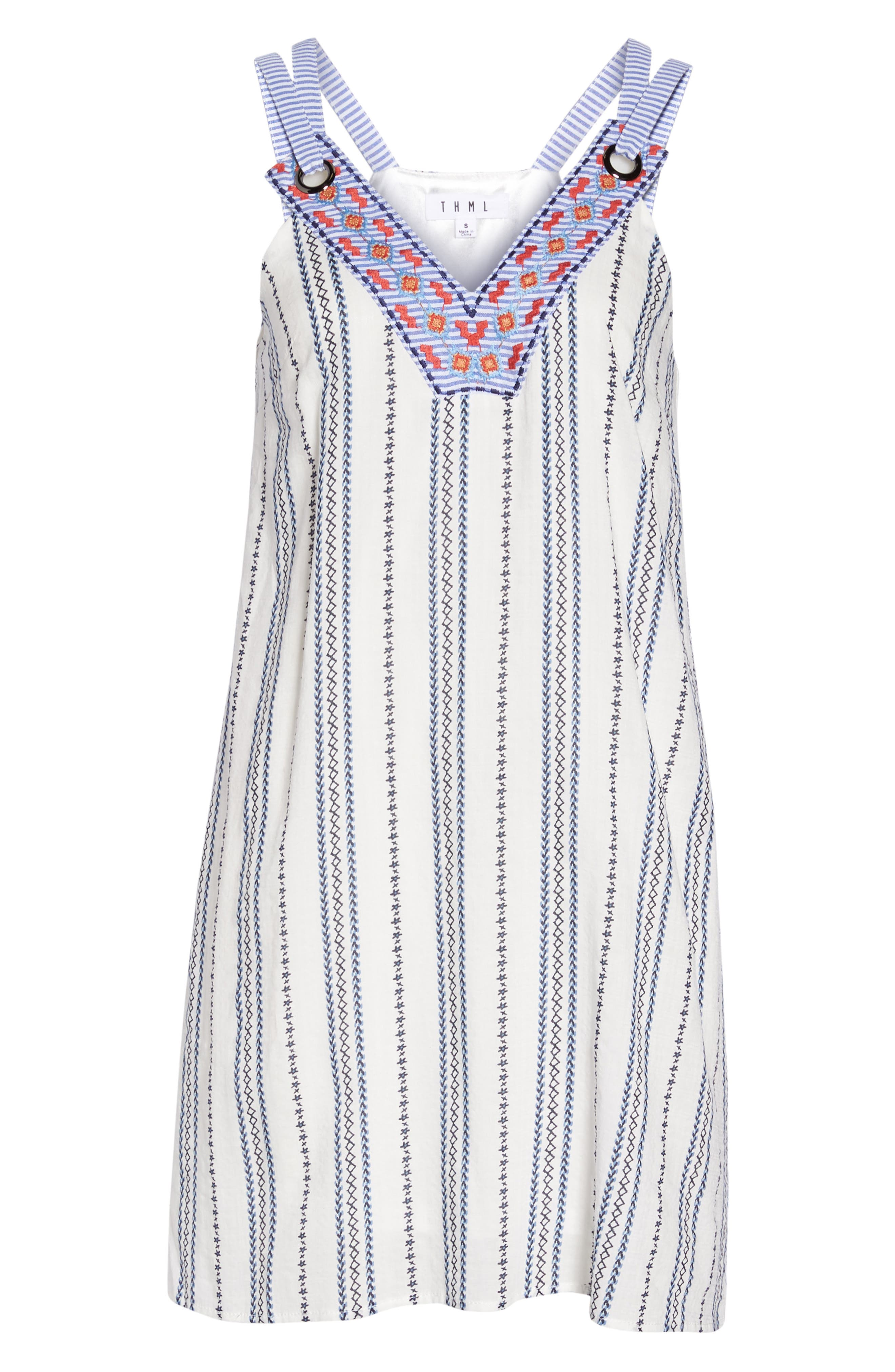 Stripe & Embroidery Shift Dress,                             Alternate thumbnail 7, color,                             White