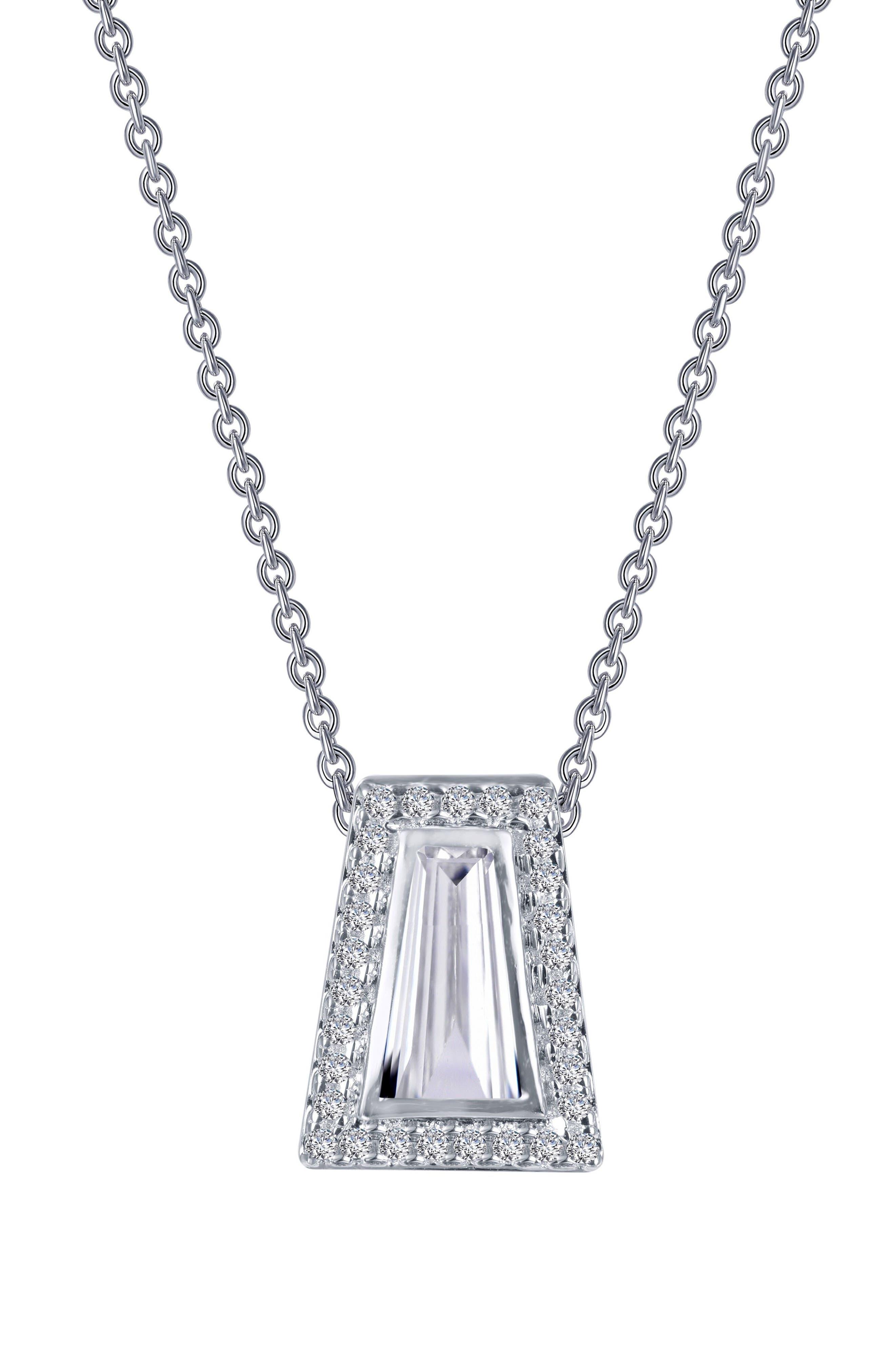 Bezel Pendant Necklace,                             Alternate thumbnail 2, color,                             Silver/ Clear