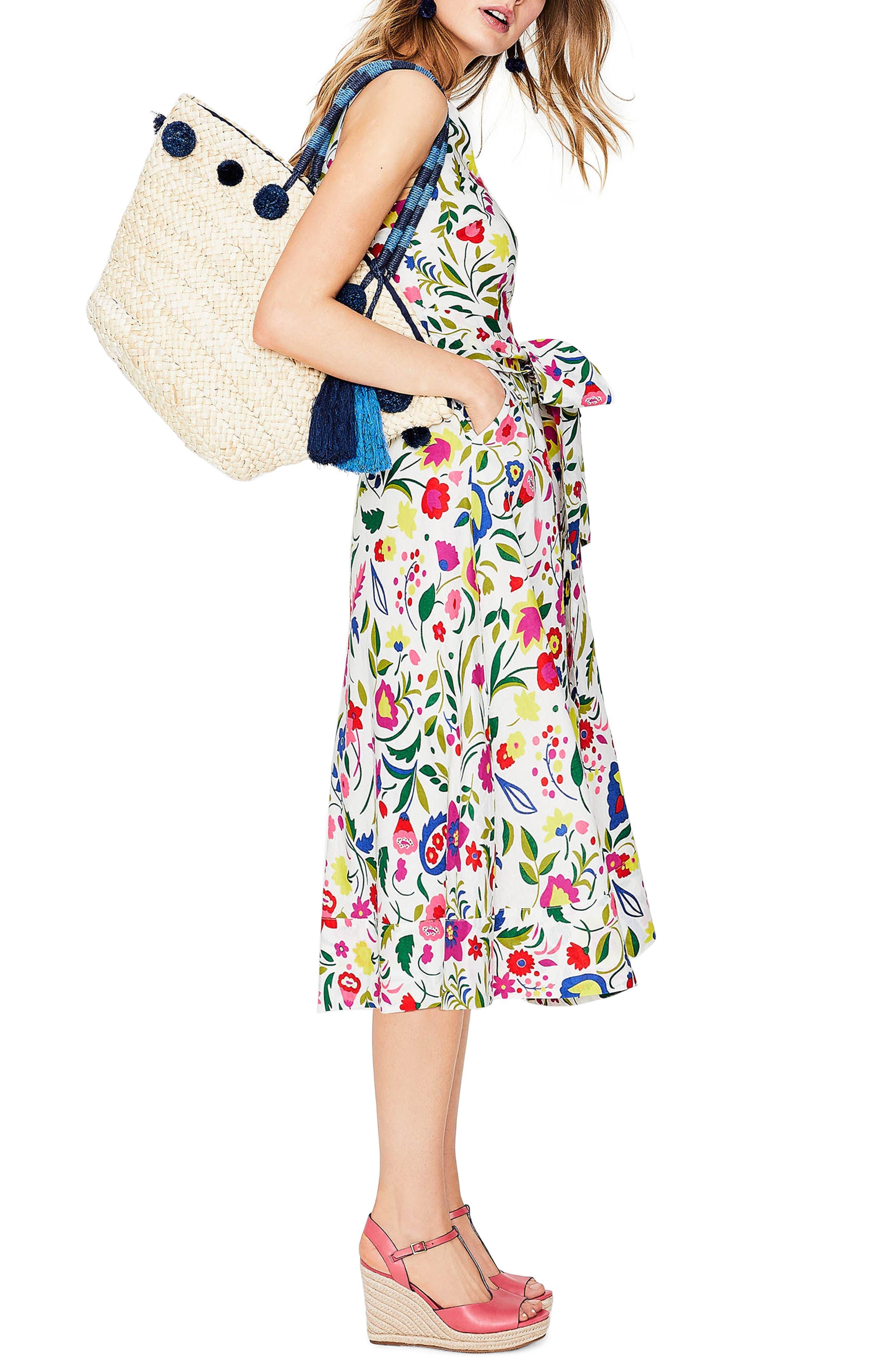 Jade Fit & Flare Linen Cotton Dress,                             Alternate thumbnail 6, color,                             Ivory Folk Pop