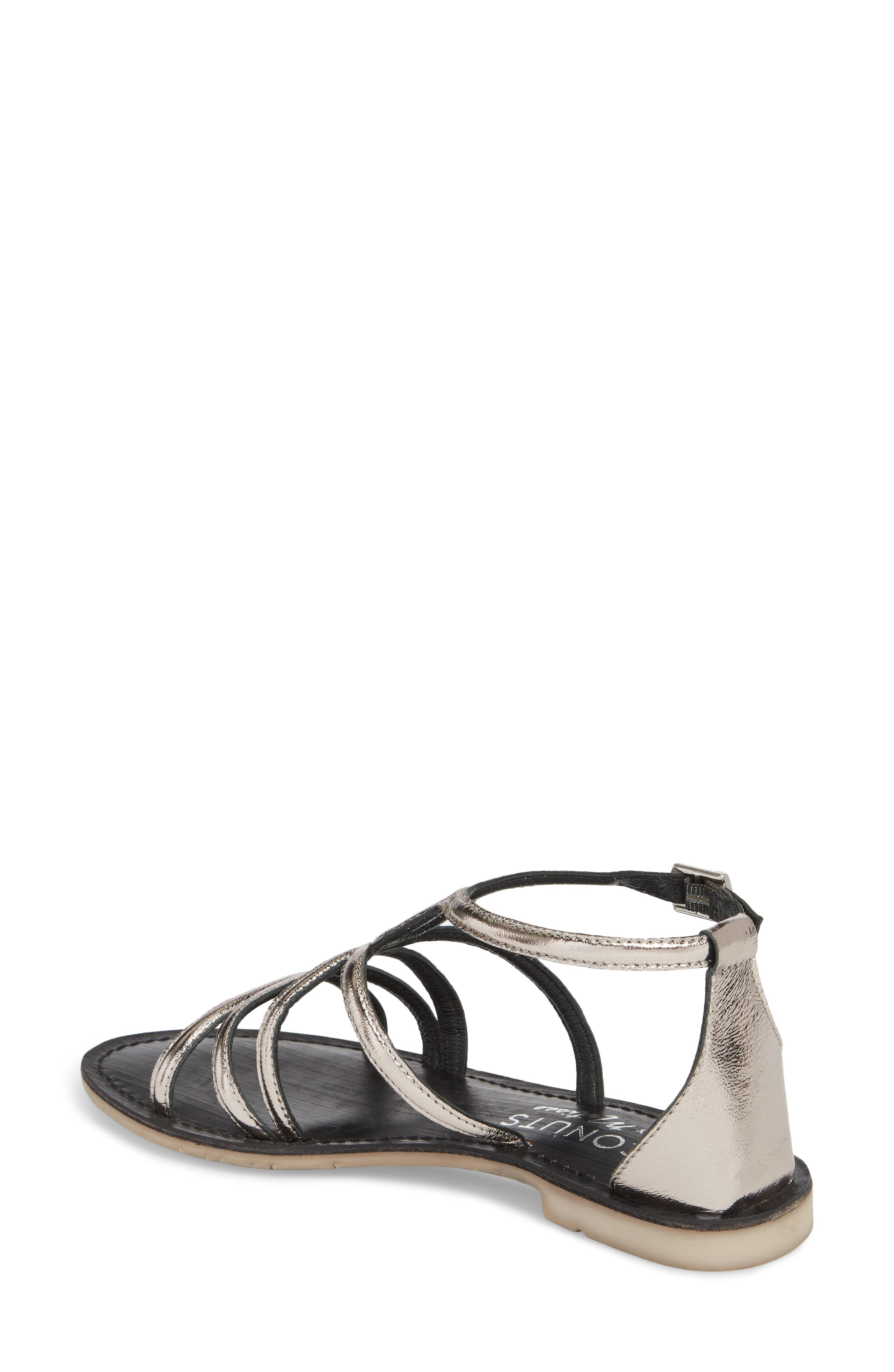 Palm Beach Metallic Sandal,                             Alternate thumbnail 2, color,                             Pewter Leather