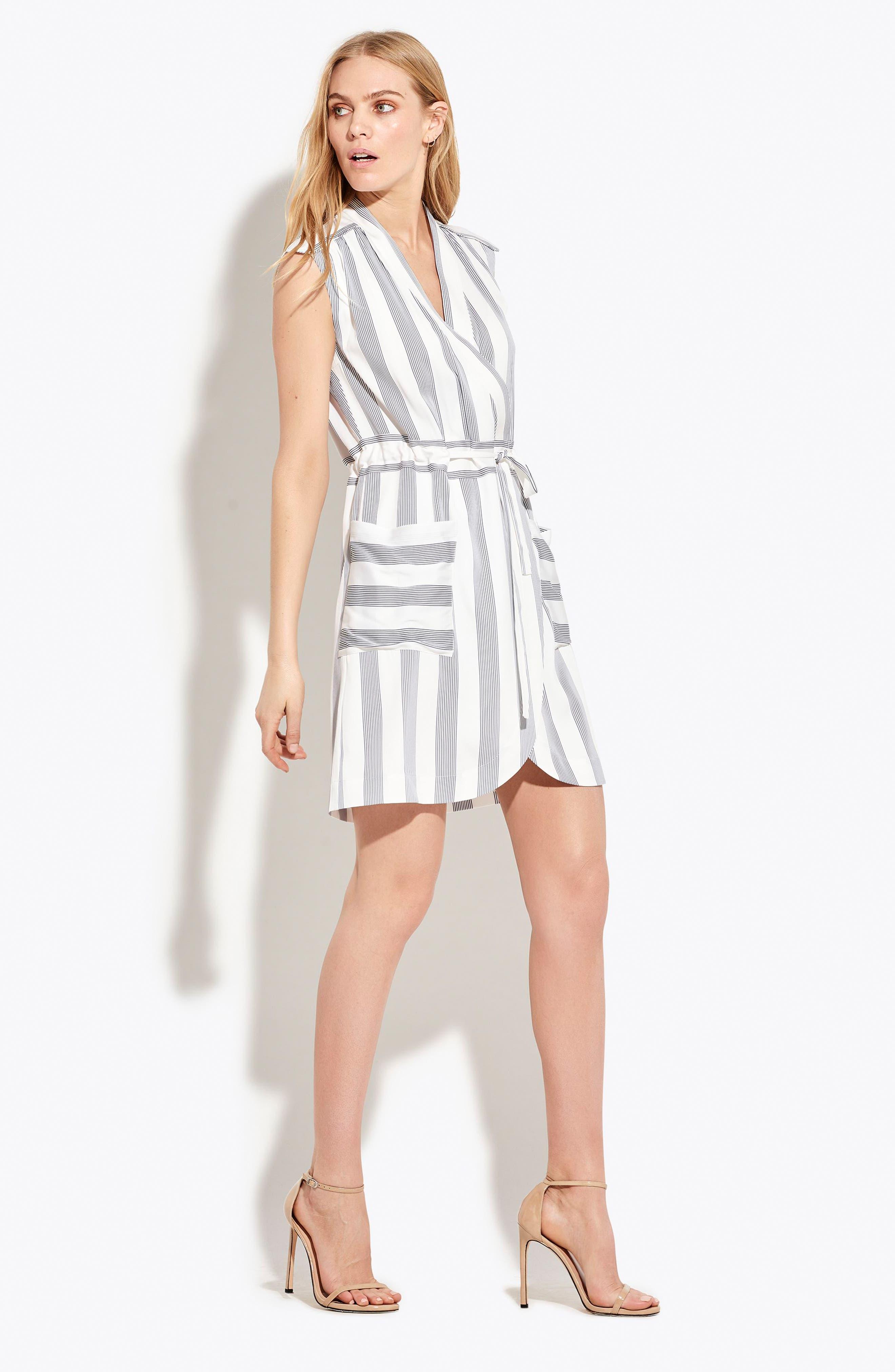 The Bomb Stretch Silk Dress,                             Alternate thumbnail 2, color,                             White/ Navy Stripe