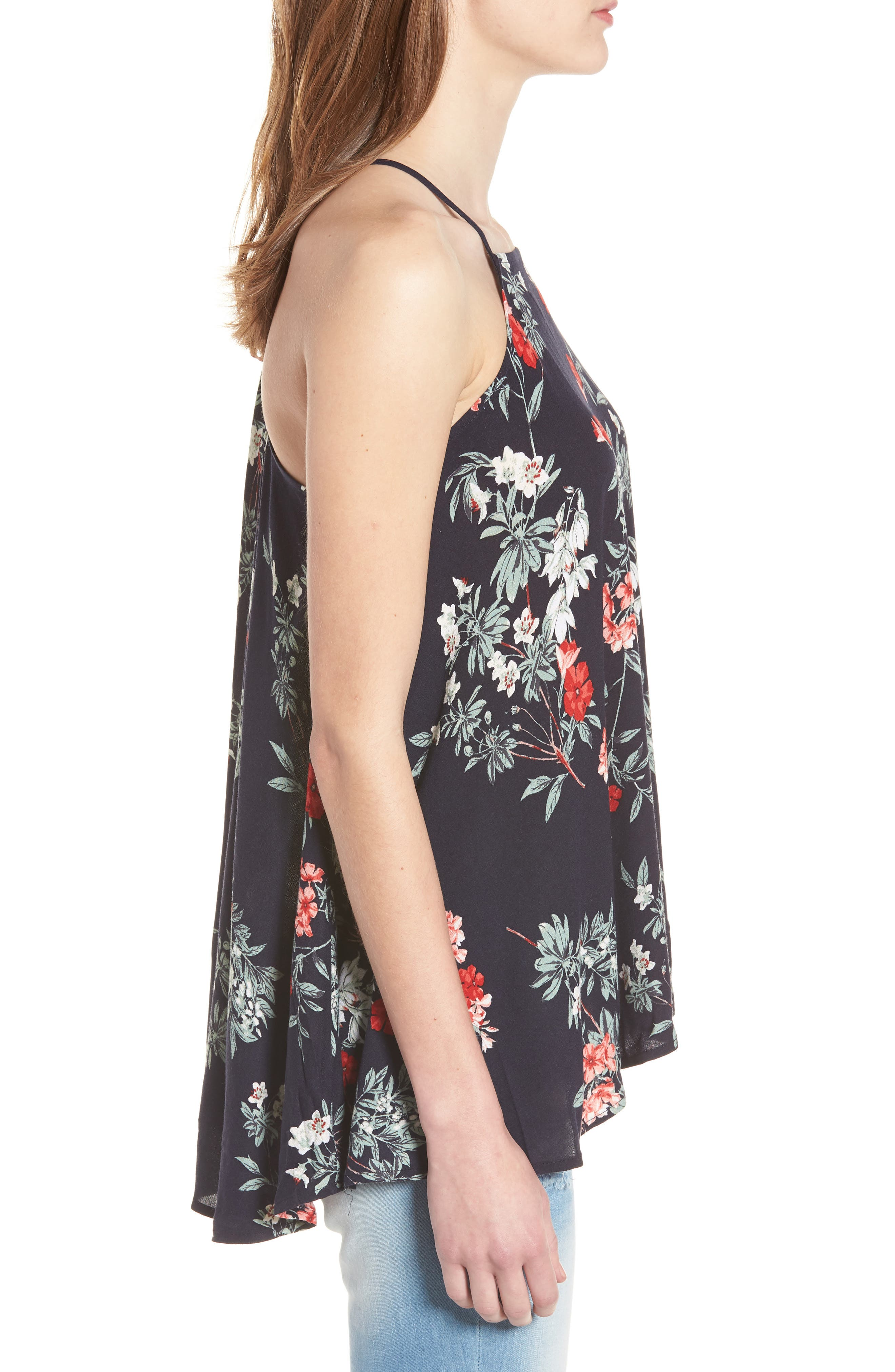 Floral Ruffle High/Low Tank,                             Alternate thumbnail 3, color,                             Navy Night Fresh Blooms