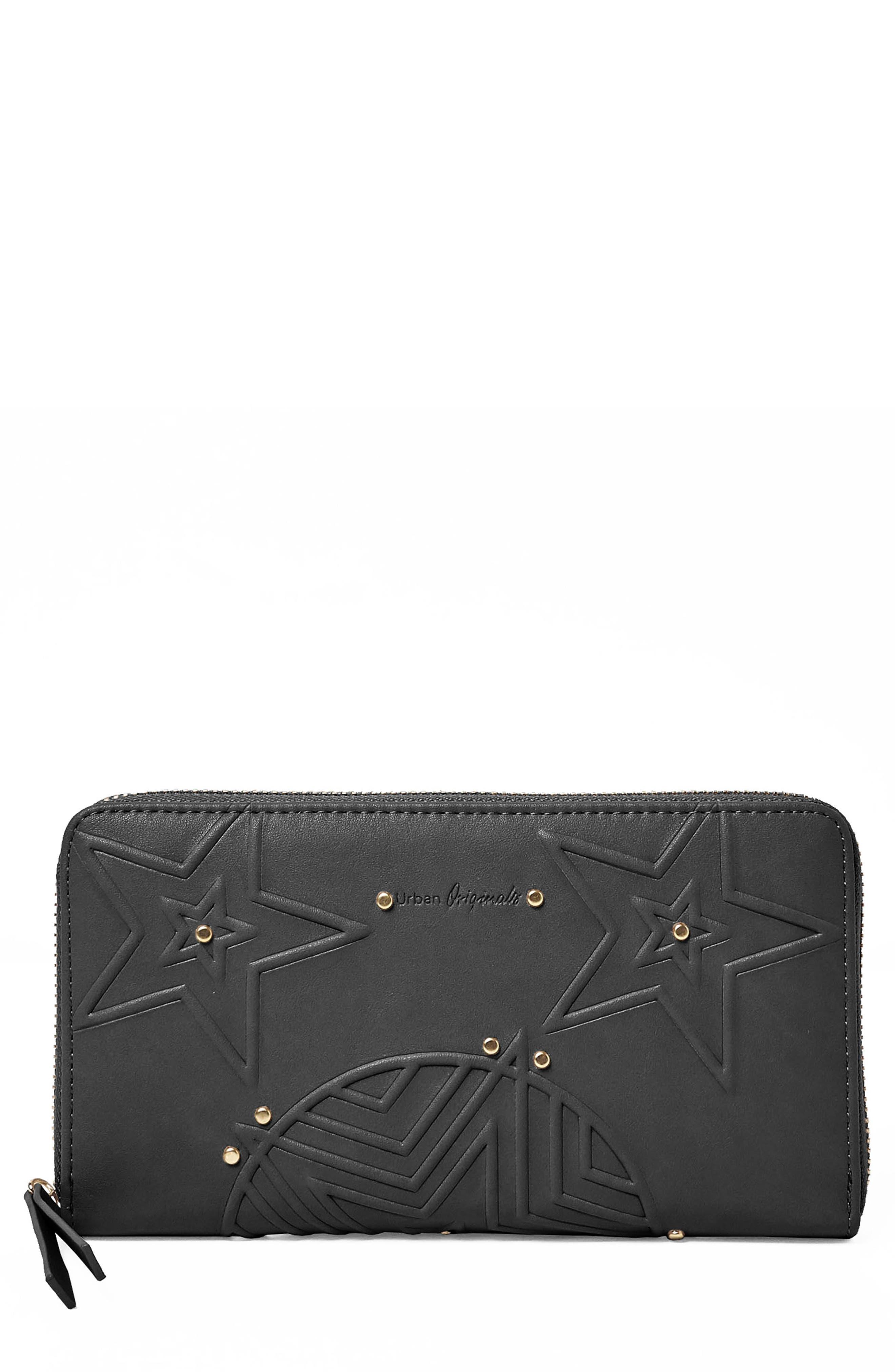 Cosmic Vegan Leather Wallet,                             Main thumbnail 1, color,                             Black