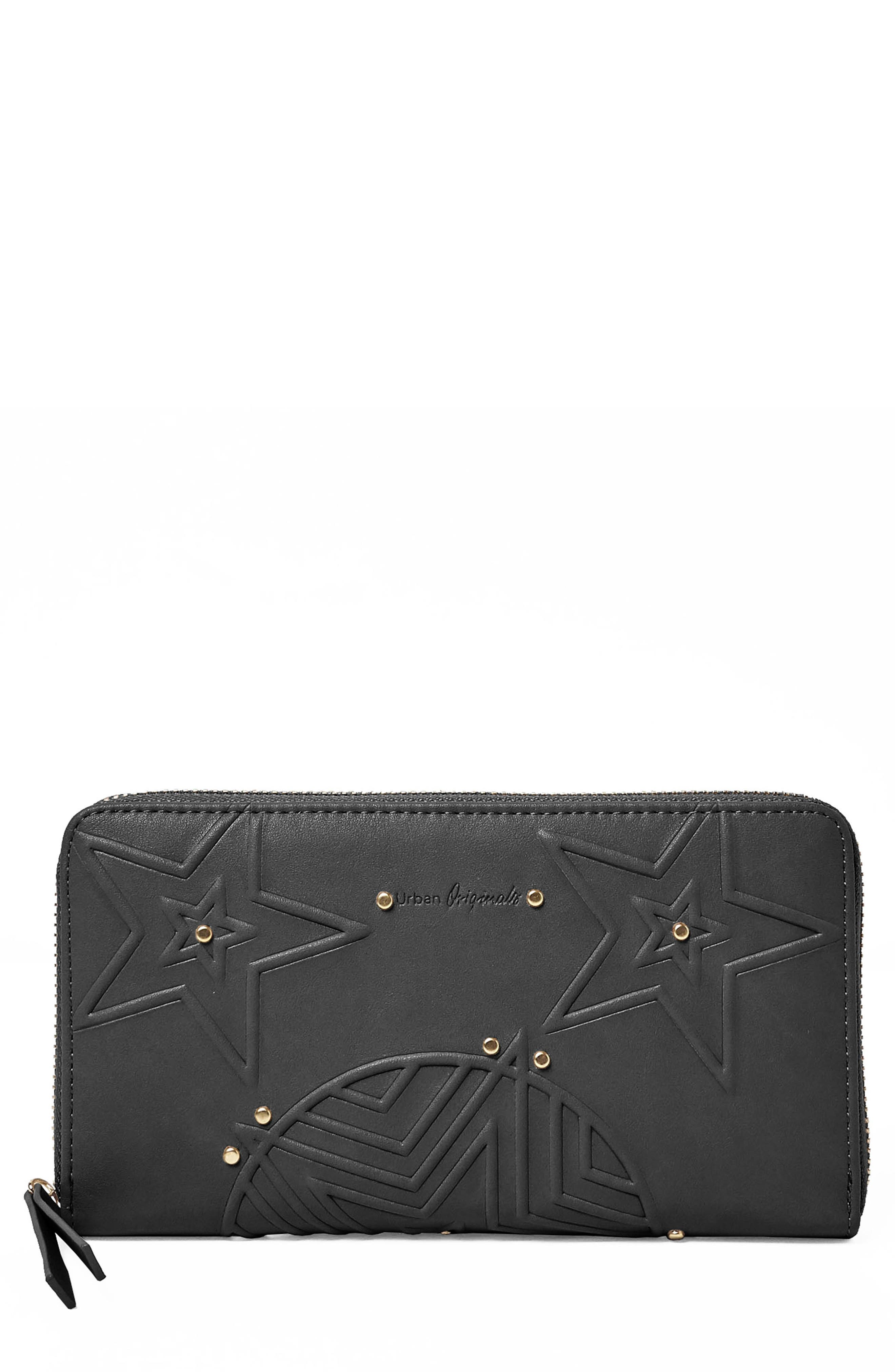 Cosmic Vegan Leather Wallet,                         Main,                         color, Black